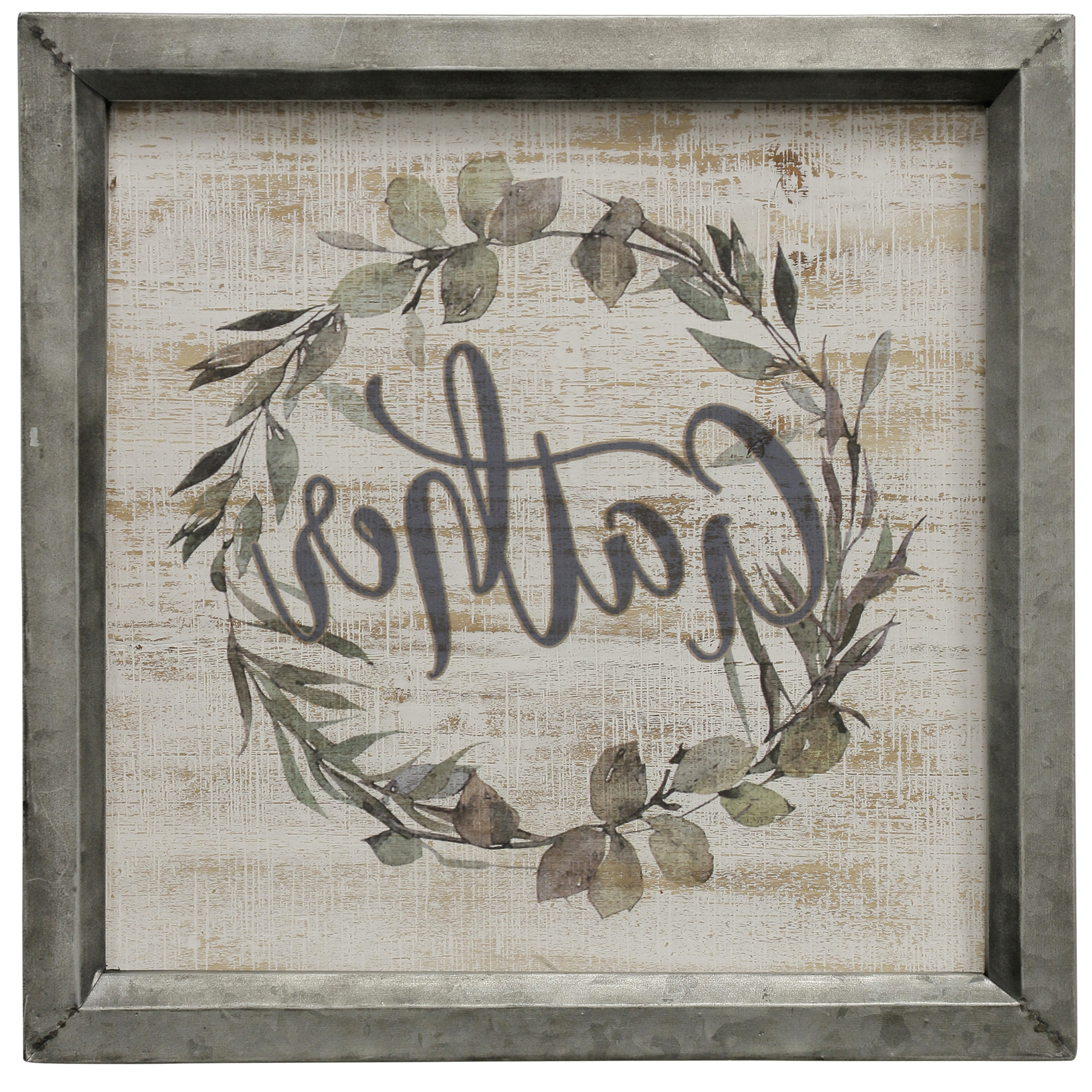 Trendy Floral Wreath Wood Framed Wall Decor With Gracie Oaks 'gather Wreath' Framed Graphic Art Print On Canvas (Gallery 16 of 20)