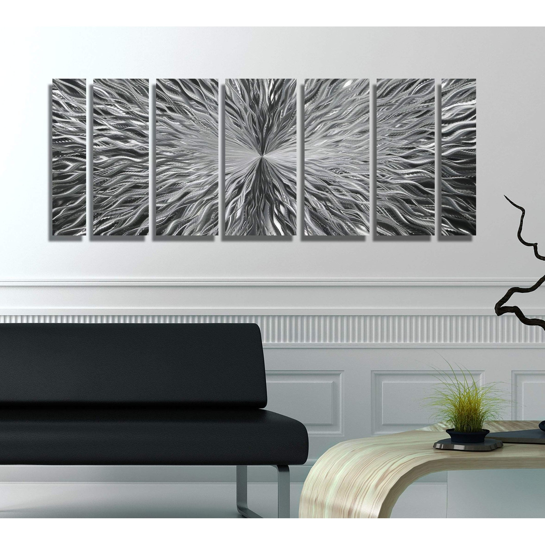 Trendy Shop Statements2000 Silver Abstract Modern Metal Wall Art Panels Regarding Abstract Bar And Panel Wall Decor (View 17 of 20)