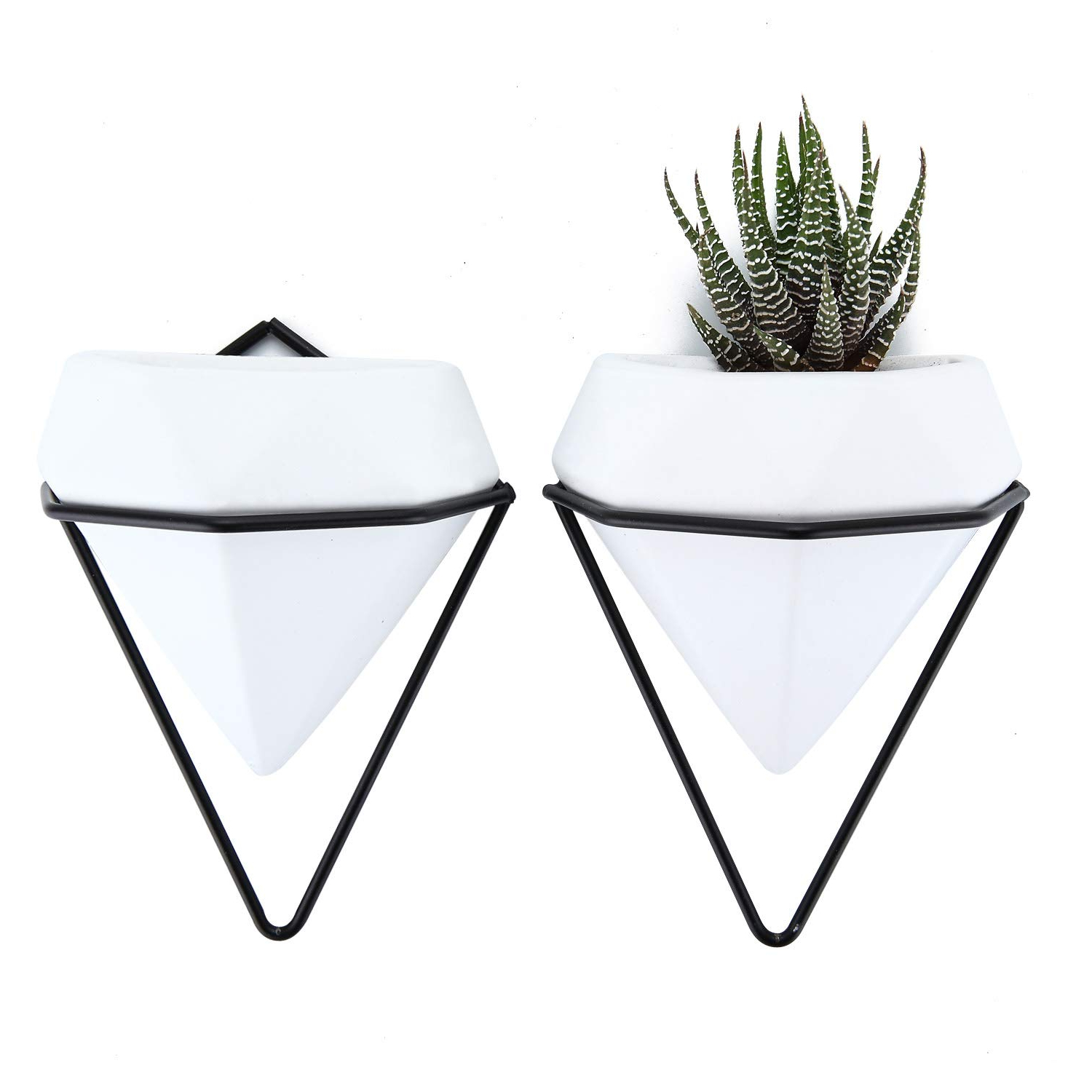Trigg Ceramic Planter Wall Decor Throughout Widely Used Amazon: T4U Diamond Wall Planters Geometric Wall Vases Set Of (View 6 of 20)