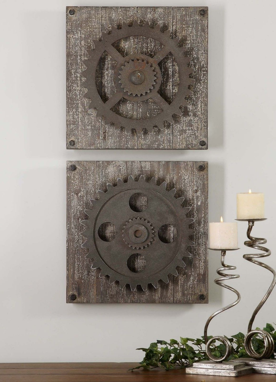 Urban Industrial Loft Steampunk Decor Rusty Gears Cogs 3D Wall Art In Current 4 Piece Metal Wall Plaque Decor Sets (Gallery 10 of 20)