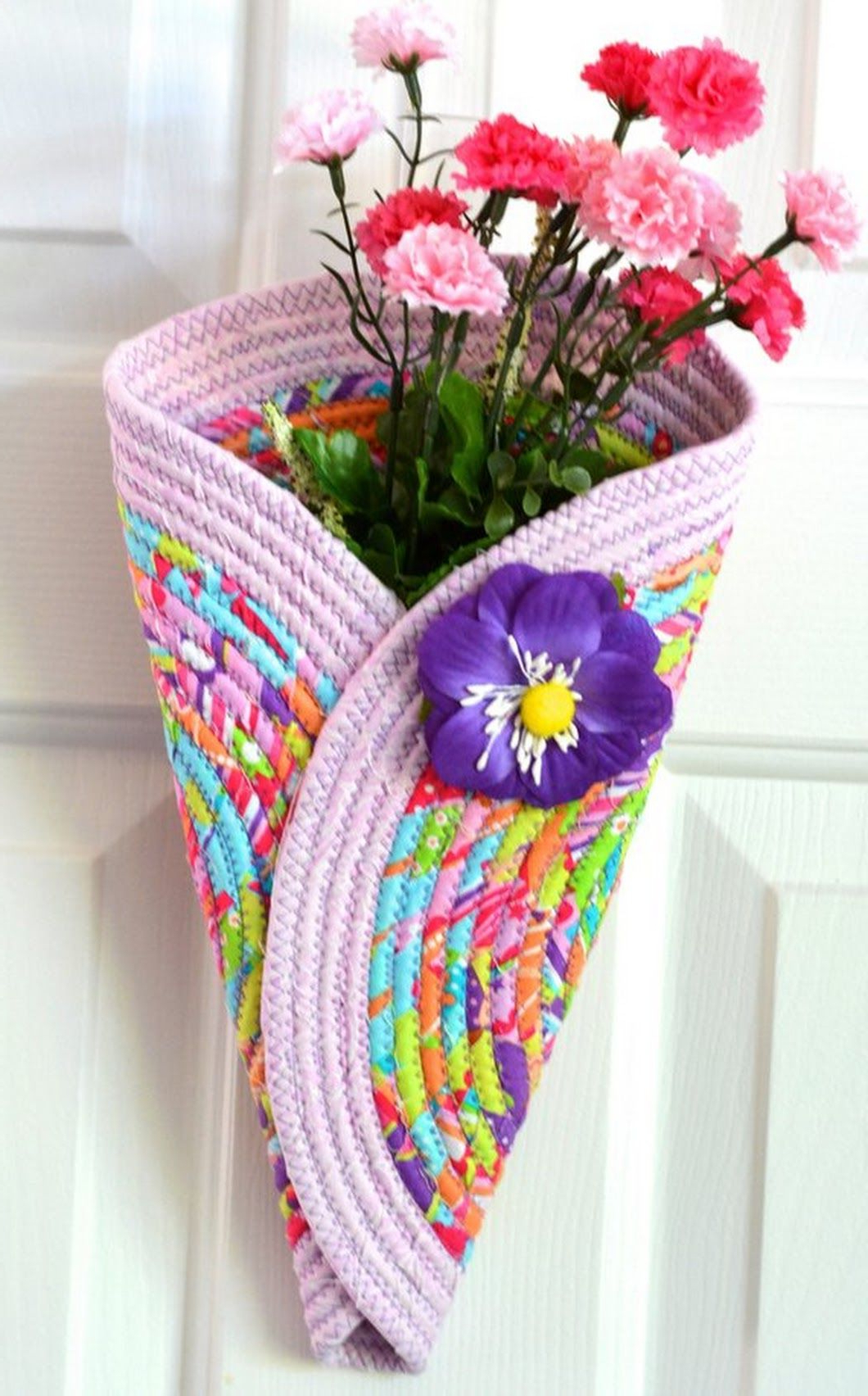 Vase And Bowl Wall Decor Intended For Favorite Violet Door Hanger, Lovely Pink Wall Art, Quilted Wall Vase (Gallery 16 of 20)