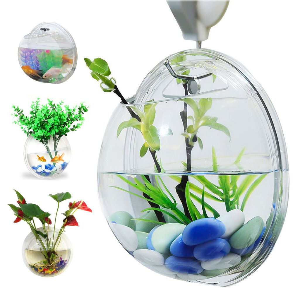 Vase And Bowl Wall Decor Regarding Preferred Amazon : Bellagione Wall Hanging Fish Bowl Fish Tank Water Plant (Gallery 9 of 20)