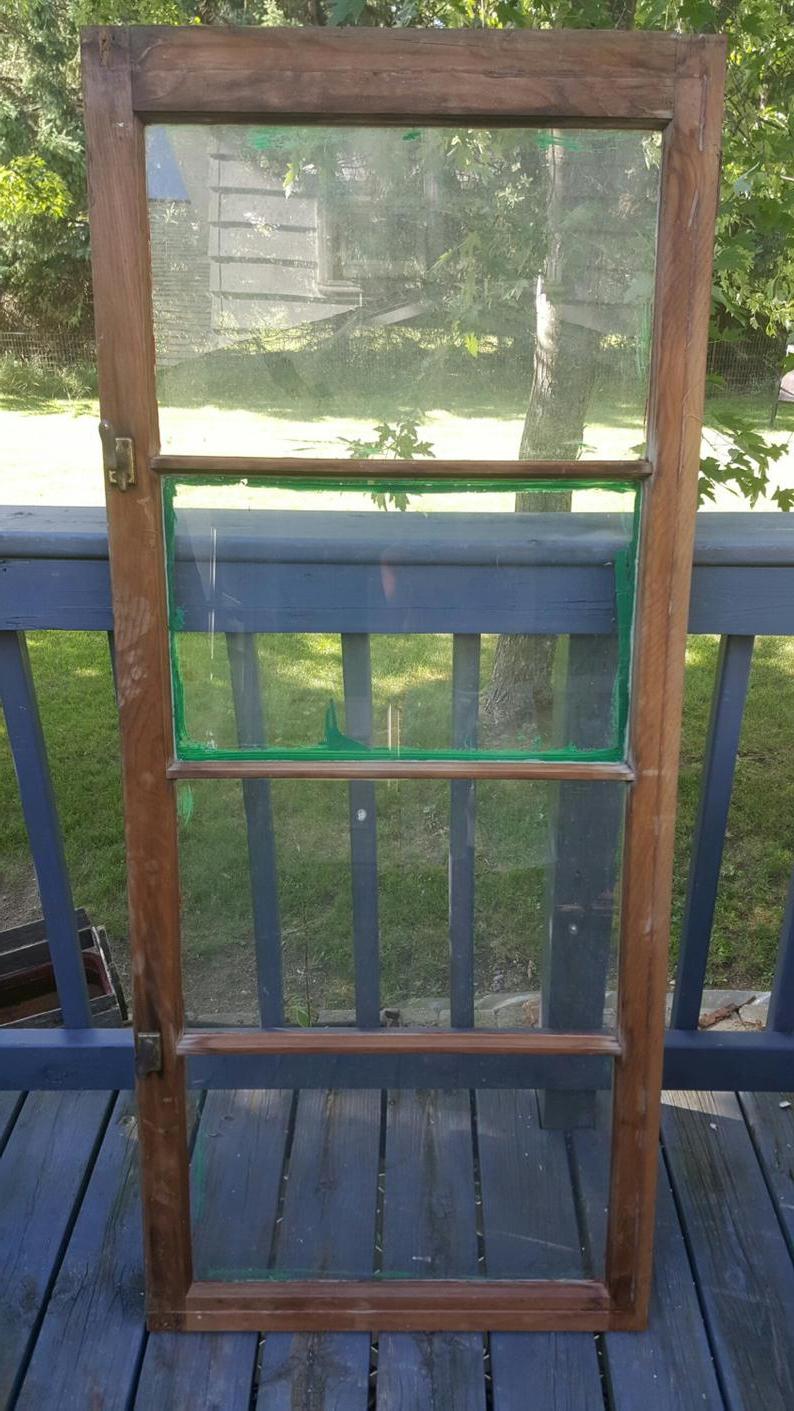 Vintage Old Window Frame 4 Pane Old Reclaimed Window Wood (Gallery 9 of 20)
