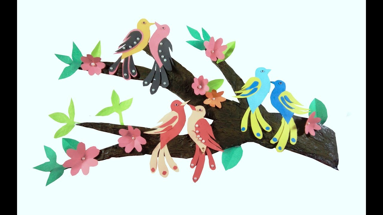 Wall Decor With Tree Branches / Wall Decoration With Birds / Diy Throughout Current Birds On A Branch Wall Decor (View 19 of 20)