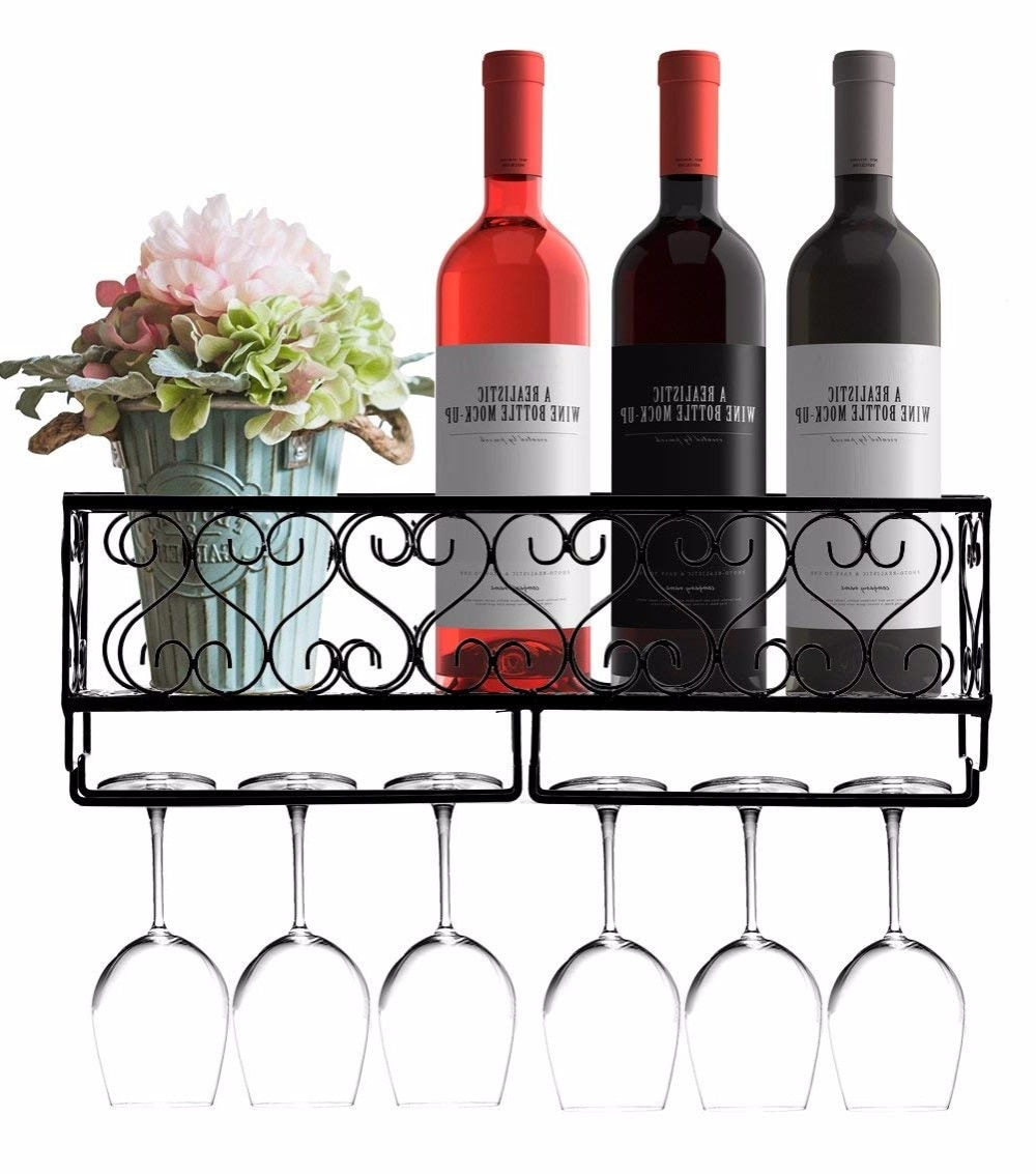 Wall Mounted Wine Rack Rustic Metal Hanging Wine Bottle Shelf With Pertaining To 2020 Three Glass Holder Wall Decor (View 19 of 20)