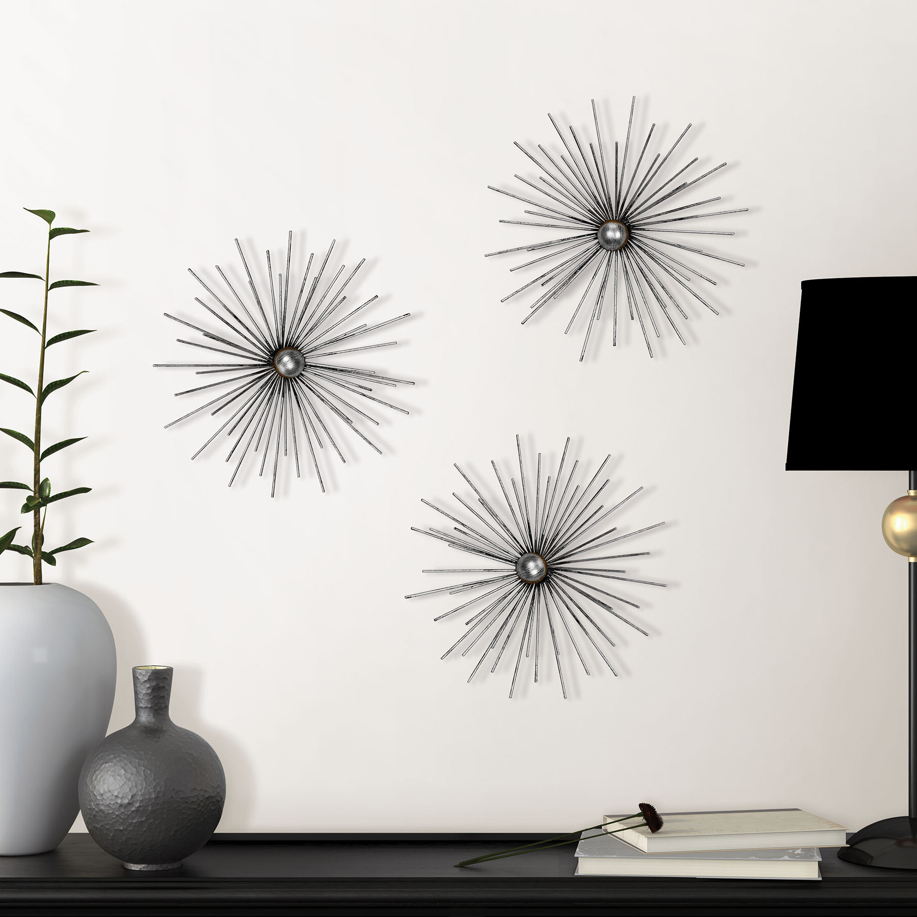 Wayfair For Set Of 3 Contemporary 6, 9, And 11 Inch Gold Tin Starburst Sculptures (Gallery 13 of 20)