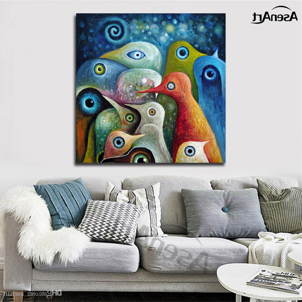 Well Known Abstract Bar And Panel Wall Decor With Ful Abstract Birds Modernism Oil Painting Printed On Canvas Mural (View 19 of 20)