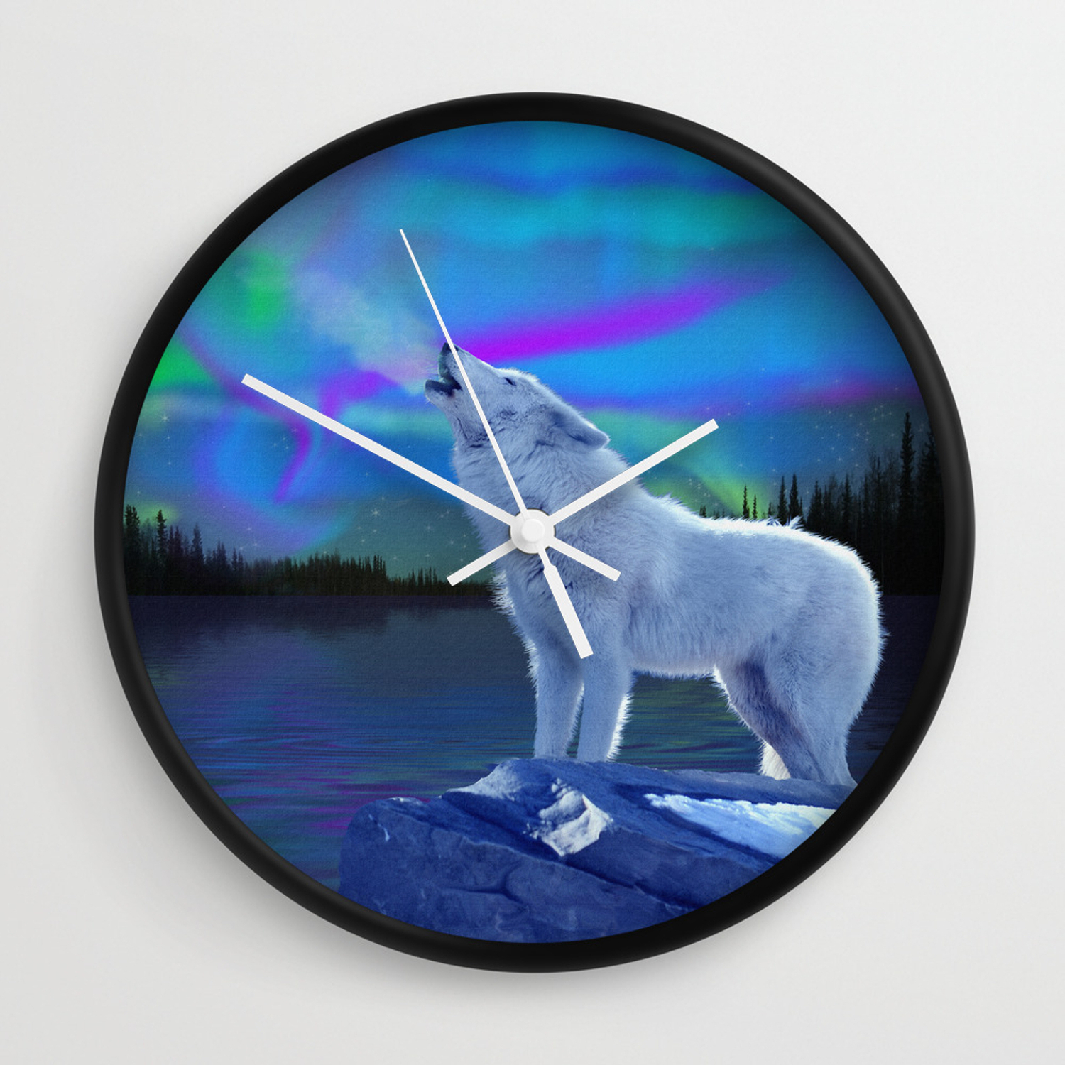 Well Known Aurora Sun Wall Decor Regarding Arctic Prayer – White Wolf And Aurora Wall Clockskyeryanevans (View 18 of 20)