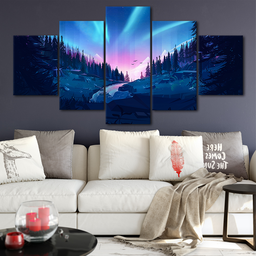 Well Known Aurora Sun Wall Decor With 2019 The Aurora Forest Canvas Posters Home Decor Wall Art Framework (View 19 of 20)