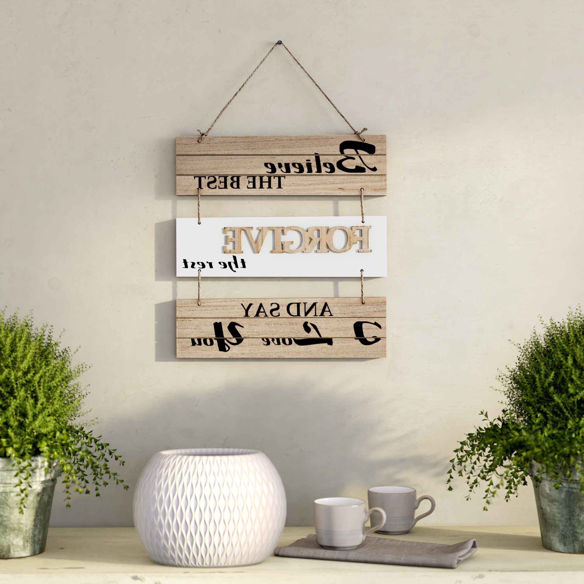 Well Known Believe The Best, Forgive The Rest And Say I Love You Sectioned Wall Throughout Farm Metal Wall Rack And 3 Tin Pot With Hanger Wall Decor (View 17 of 20)