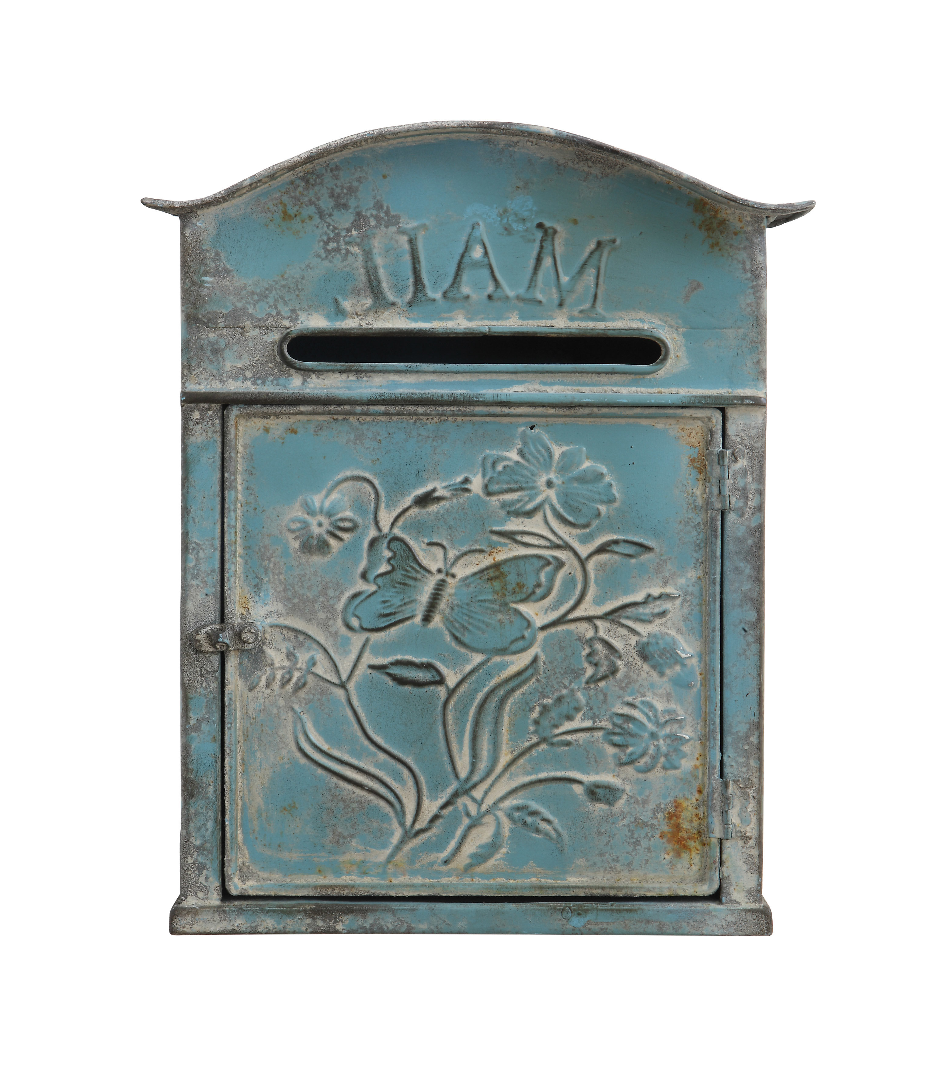 Well Known Creative Co Op Distressed Embossed Tin Wall Mounted Mailbox For Lacordaire Wall Mounted Mailbox (View 18 of 20)