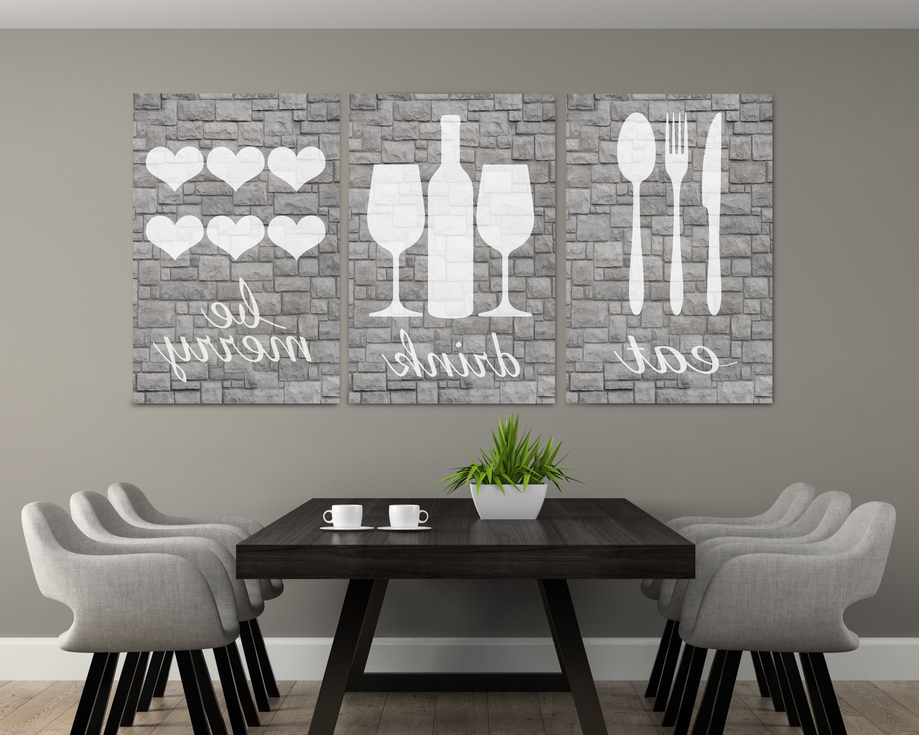 Well Known Eat Rustic Farmhouse Wood Wall Decor Inside Gray Stone Eat Wall Art Eat Drink And Be Merry Eat Sign (View 16 of 20)