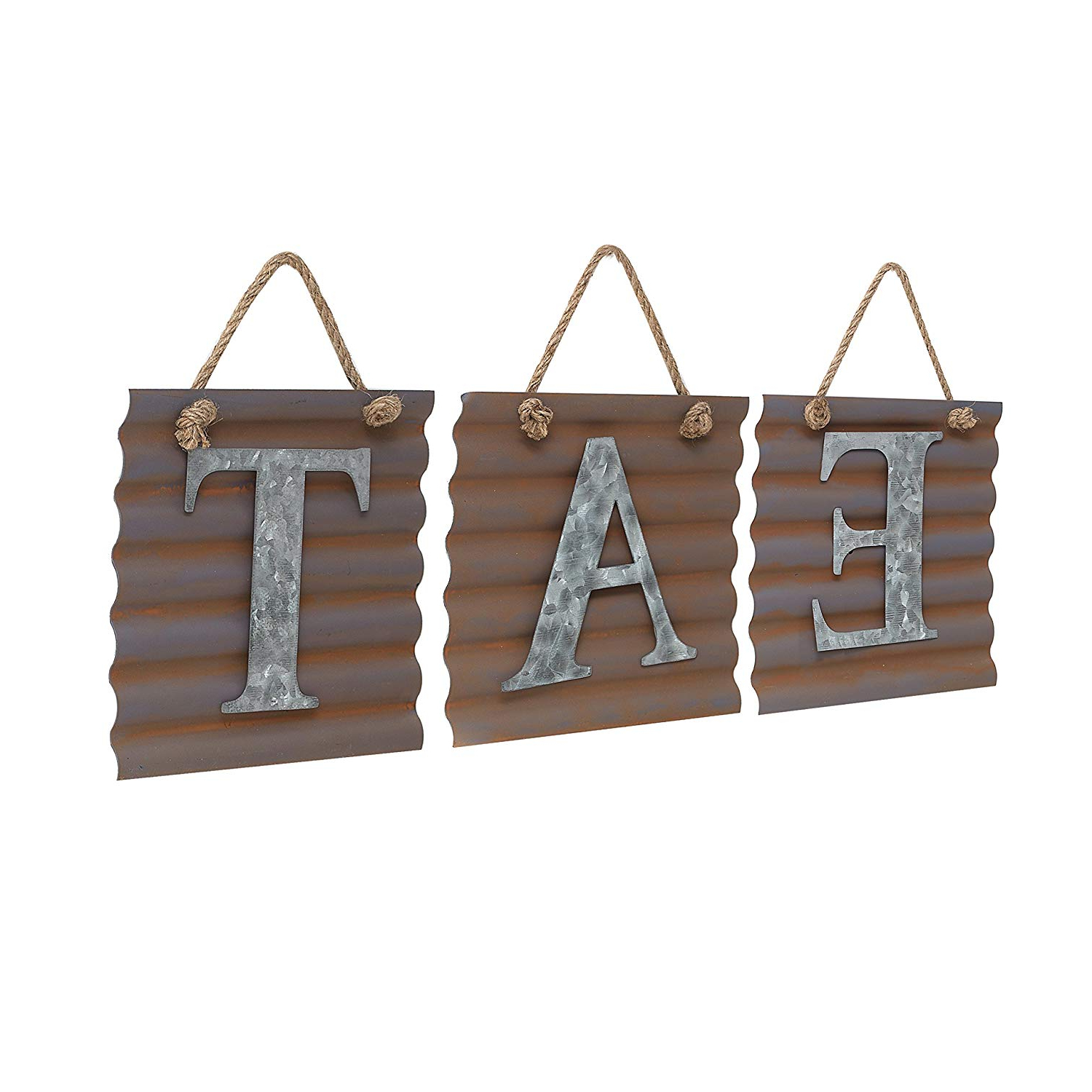 Well Known Eat Rustic Farmhouse Wood Wall Decor Regarding Amazon: Barnyard Designs Eat Galvanized Metal Letter Tile Wall (View 20 of 20)