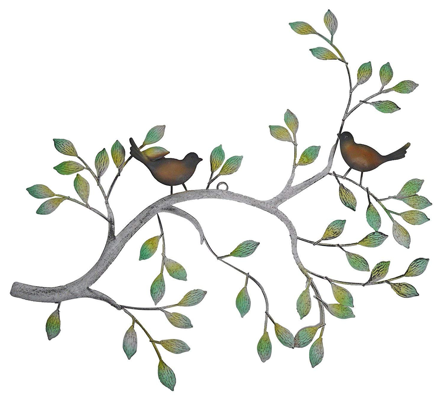 Well Known Leaves Metal Sculpture Wall Decor Intended For Amazon: 24 In Branches W/birds Decorative Metal Wall Decor (View 18 of 20)