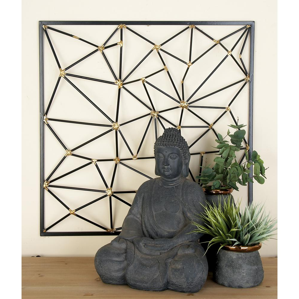 Well Known Metal Wall Decor By Cosmoliving In Cosmolivingcosmopolitan Black And Gold Geometric Inspired Iron (View 20 of 20)
