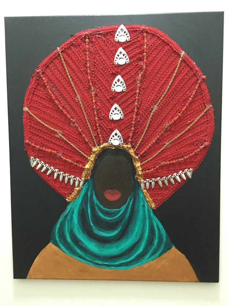 Well Known Mixed Media Acrylic Painting Fabric Art Black African American (View 6 of 20)