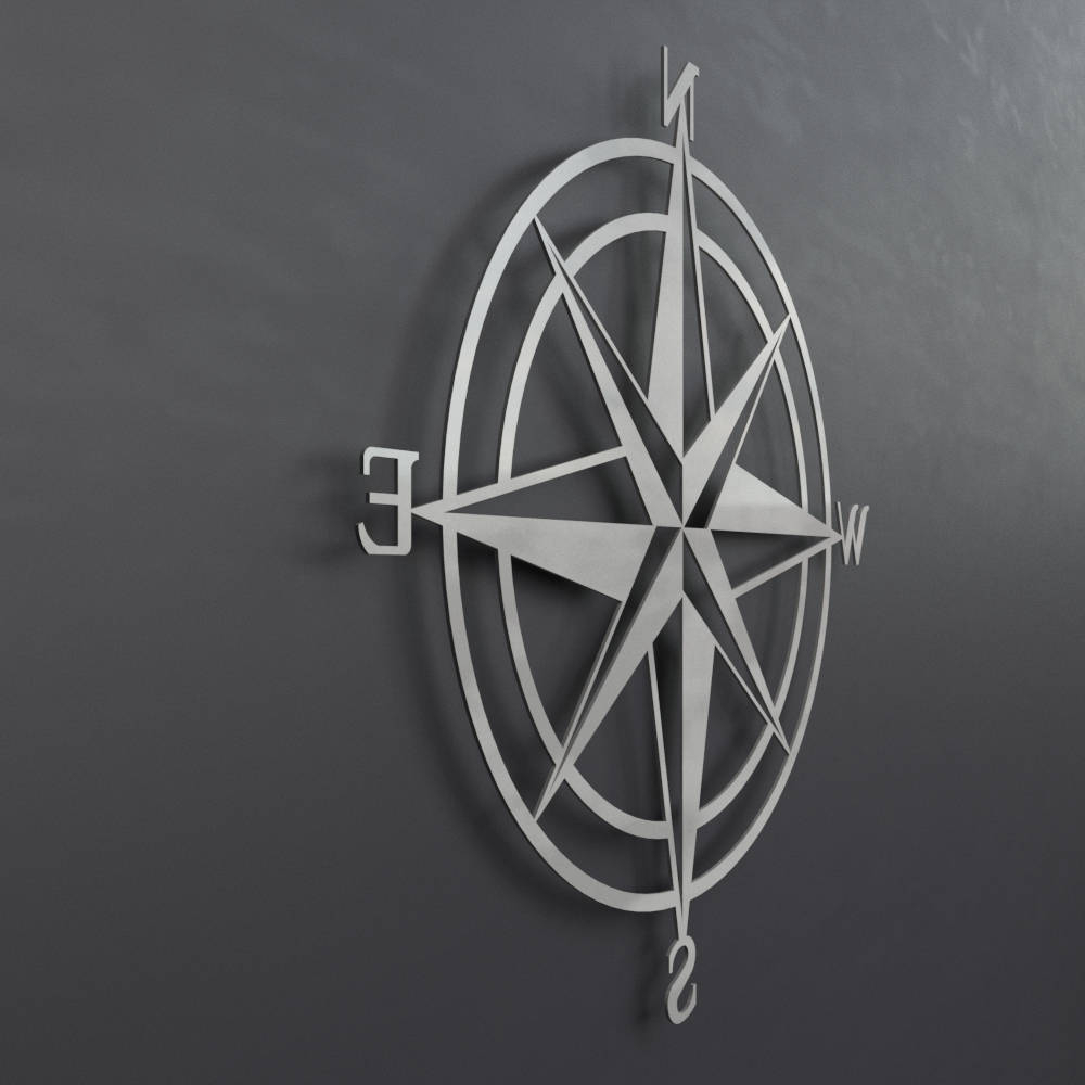 Well Known Outdoor Metal Wall Compass With 3D Compass Metal Wall Art, Nautical Rose Compass, Large Metal Wall (Gallery 10 of 20)