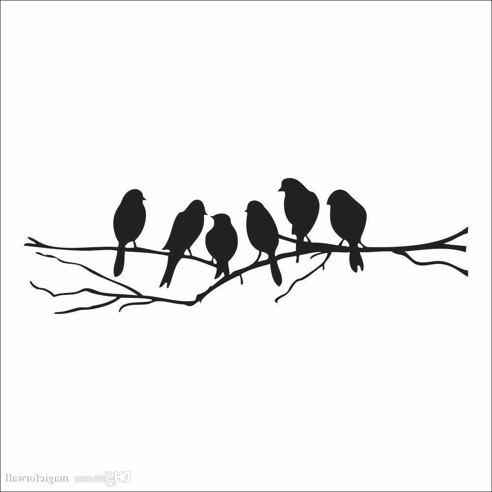 Well Known Wall Art Mural Decor Sticker Black Cute Birds On The Branch Wall With Regard To Birds On A Branch Wall Decor (Gallery 10 of 20)