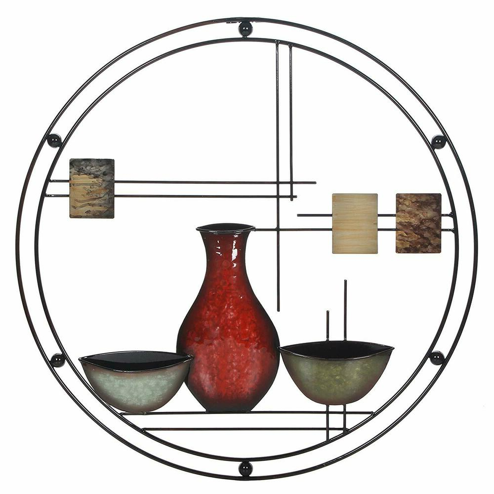 Well Known Wall Metal Art Modern Abstract Decor Home Sculpture Vase Hang Bowl Throughout Vase And Bowl Wall Decor (Gallery 8 of 20)