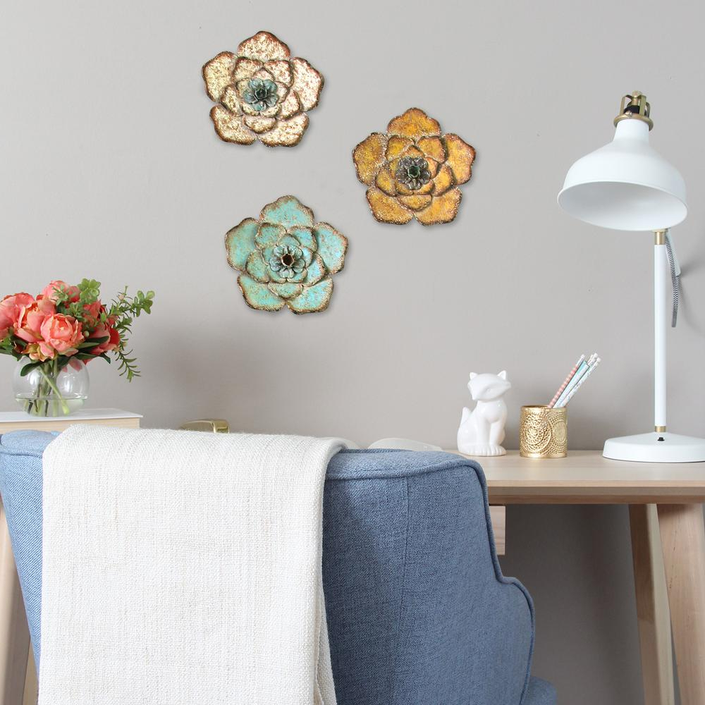Well Liked 3 Piece Magnolia Brown Panel Wall Decor Sets With Regard To Stratton Home Decor Rustic Metal Flower Wall Decor (set Of 3) S (View 10 of 20)