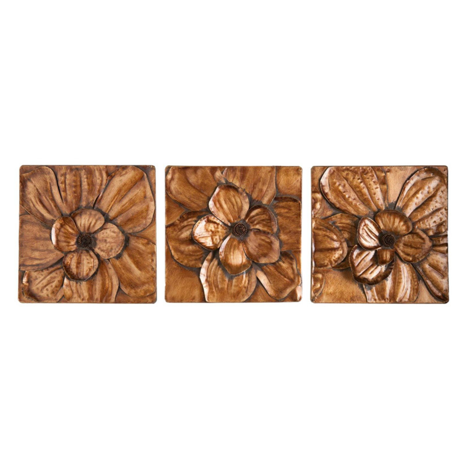 Well Liked 3 Piece Magnolia Brown Panel Wall Decor Sets Within Southern Enterprises Magnolia 3 Piece Wall Panel Set – Walmart (Gallery 3 of 20)