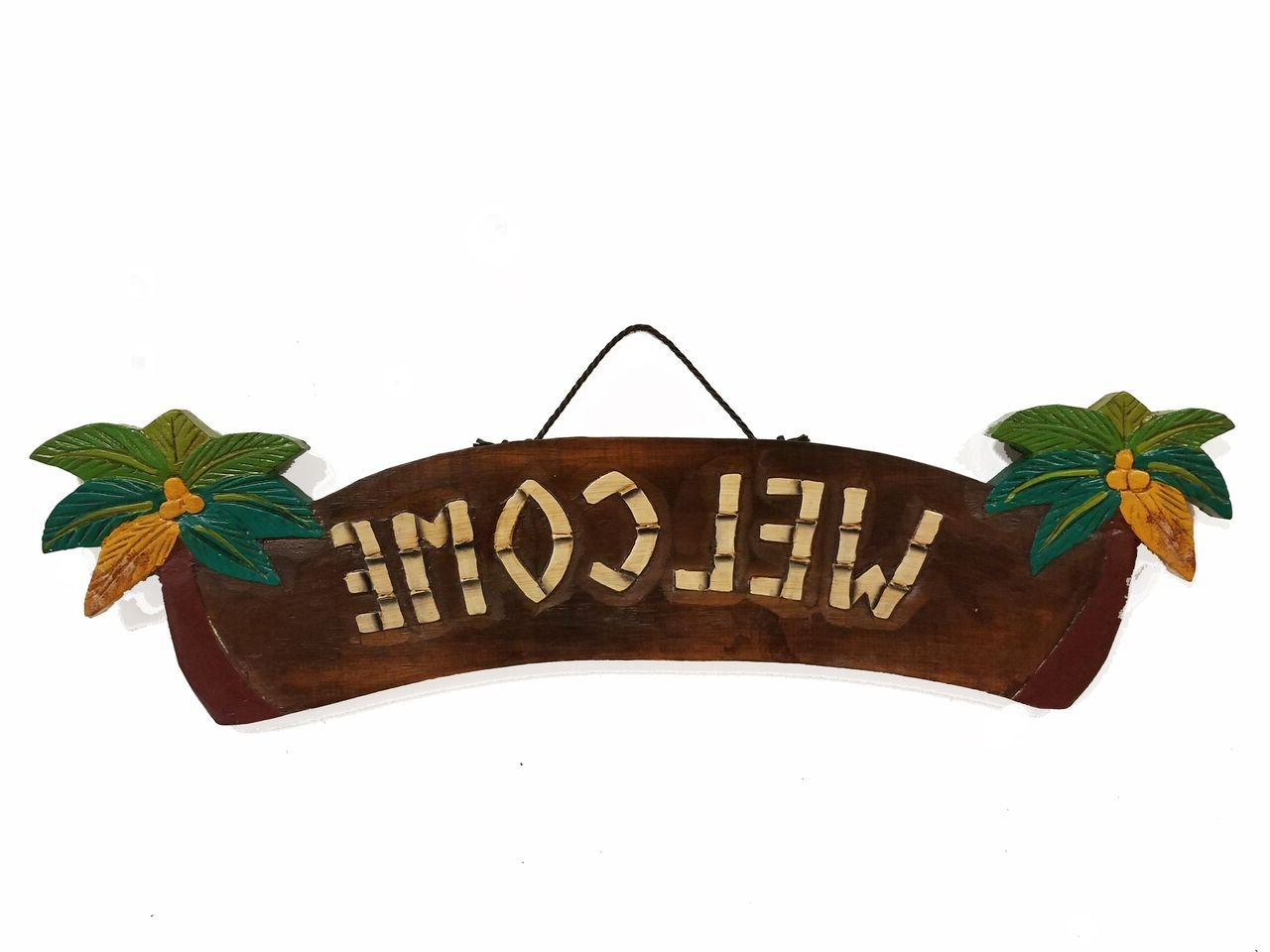 "Well Liked Amazon: 21.5"" X 4"" Handcarved & Painted Wood ""welcome"" With Palm With Tree Welcome Sign Wall Decor (Gallery 8 of 20)"