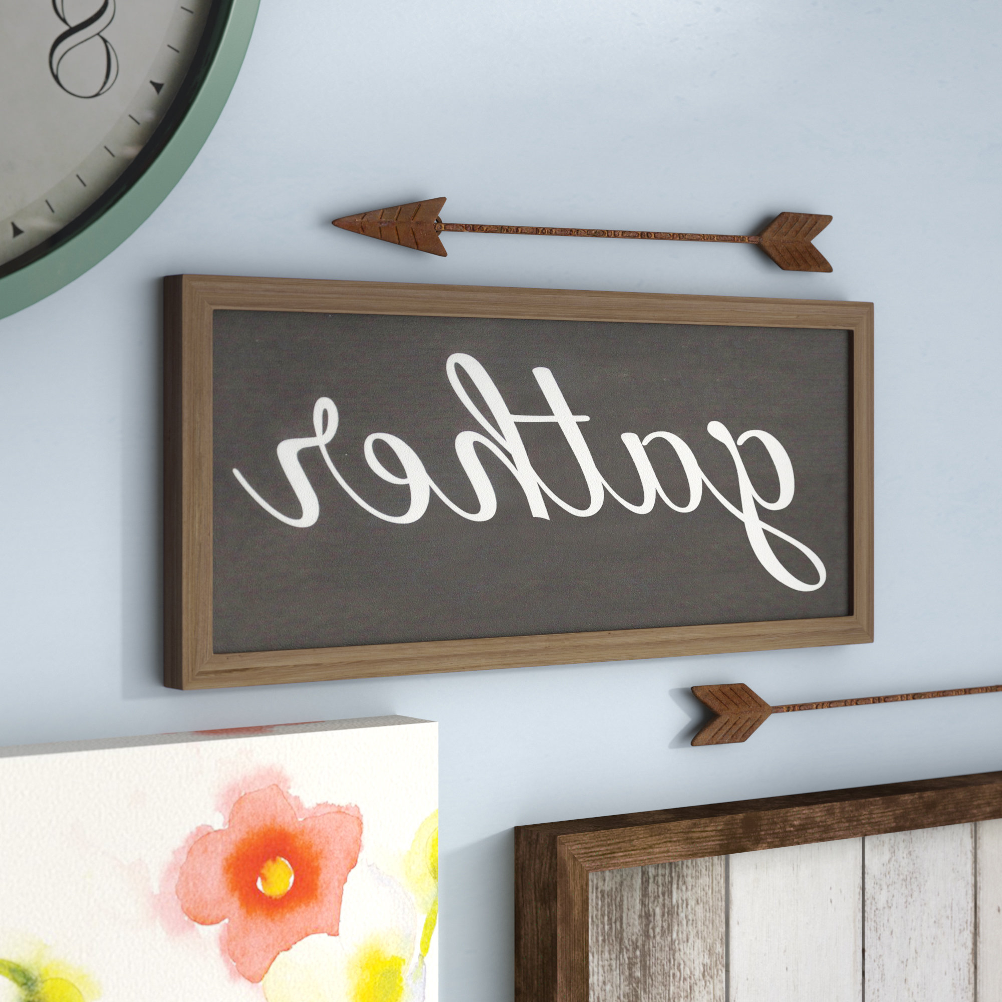 Well Liked Choose Happiness 3D Cursive Metal Wall Decor Intended For Laurel Foundry Modern Farmhouse Gather Galvanized Metal Wall Décor (Gallery 13 of 20)