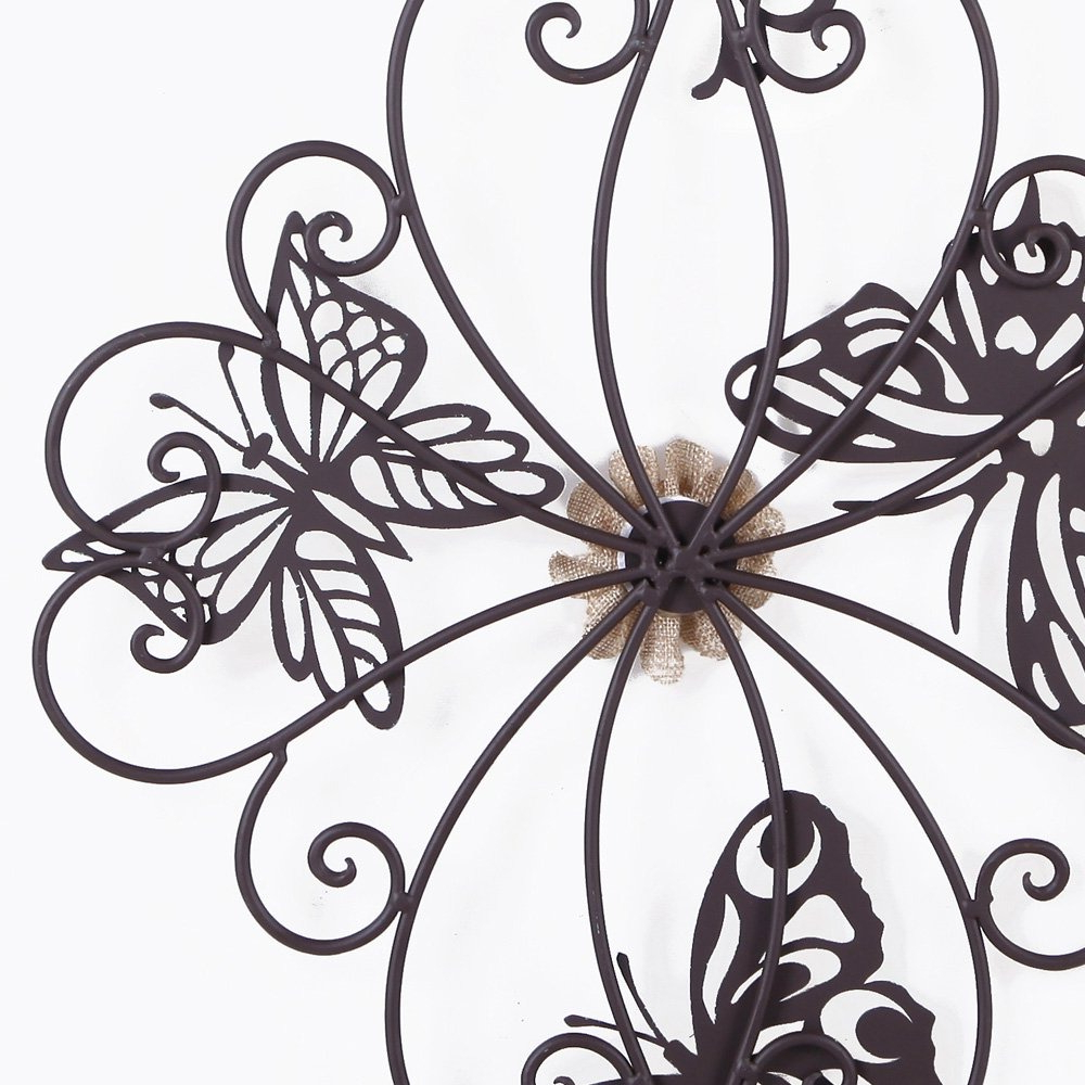 Well Liked Flower And Butterfly Urban Design Metal Wall Decor With Regard To Adeco Flower And Butterfly Urban Design Metal Wall Decor Fo (View 12 of 20)