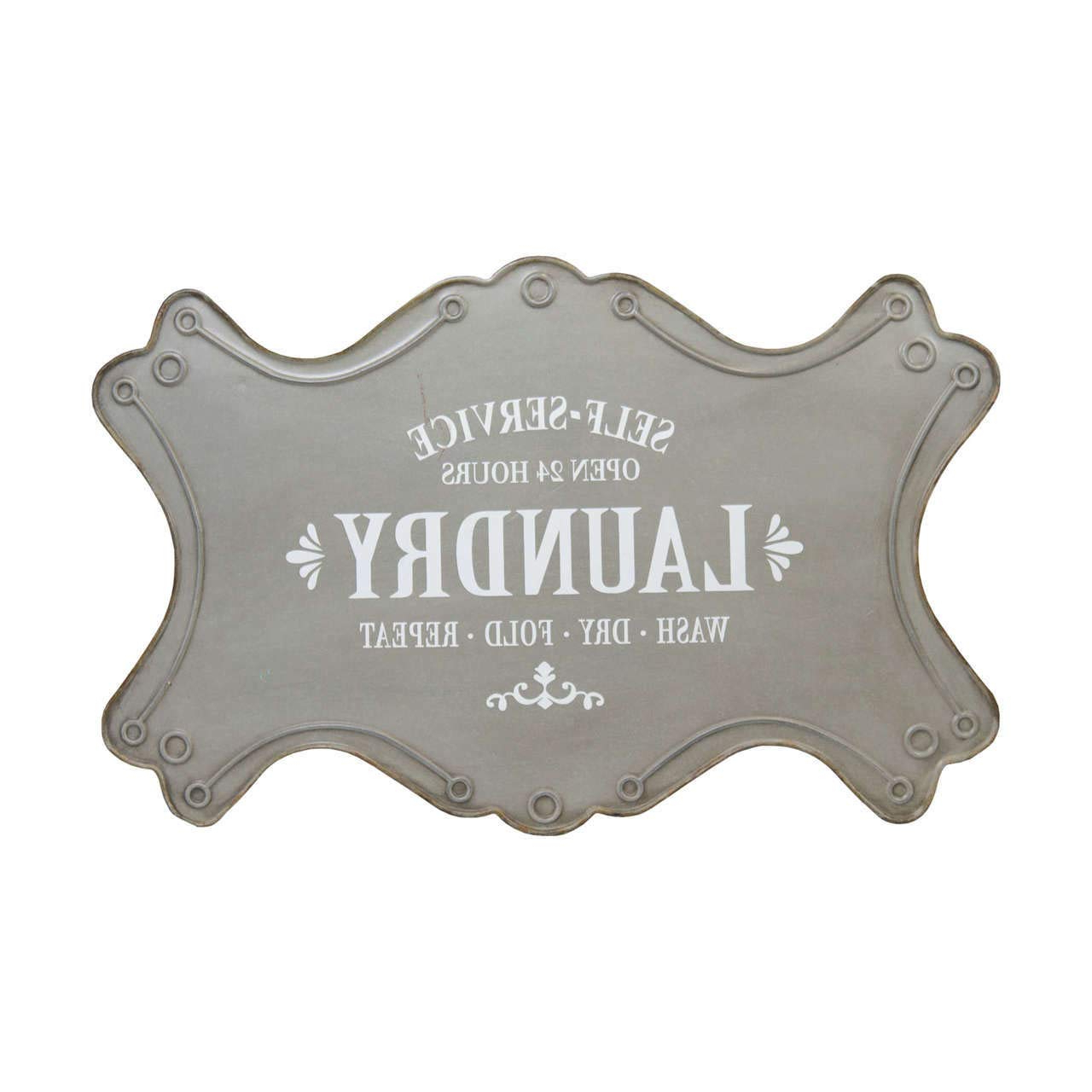Well Liked Personalized Distressed Vintage Look Kitchen Metal Sign Wall Decor Throughout Amazon: Antique Style Metal Self Service Laundry Sign, Large (View 7 of 20)