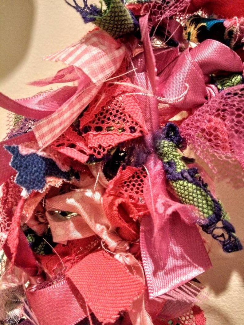 Well Liked Pink Fabric Wreath Rag Wreath Door Hanging Home Decor Wall (View 20 of 20)