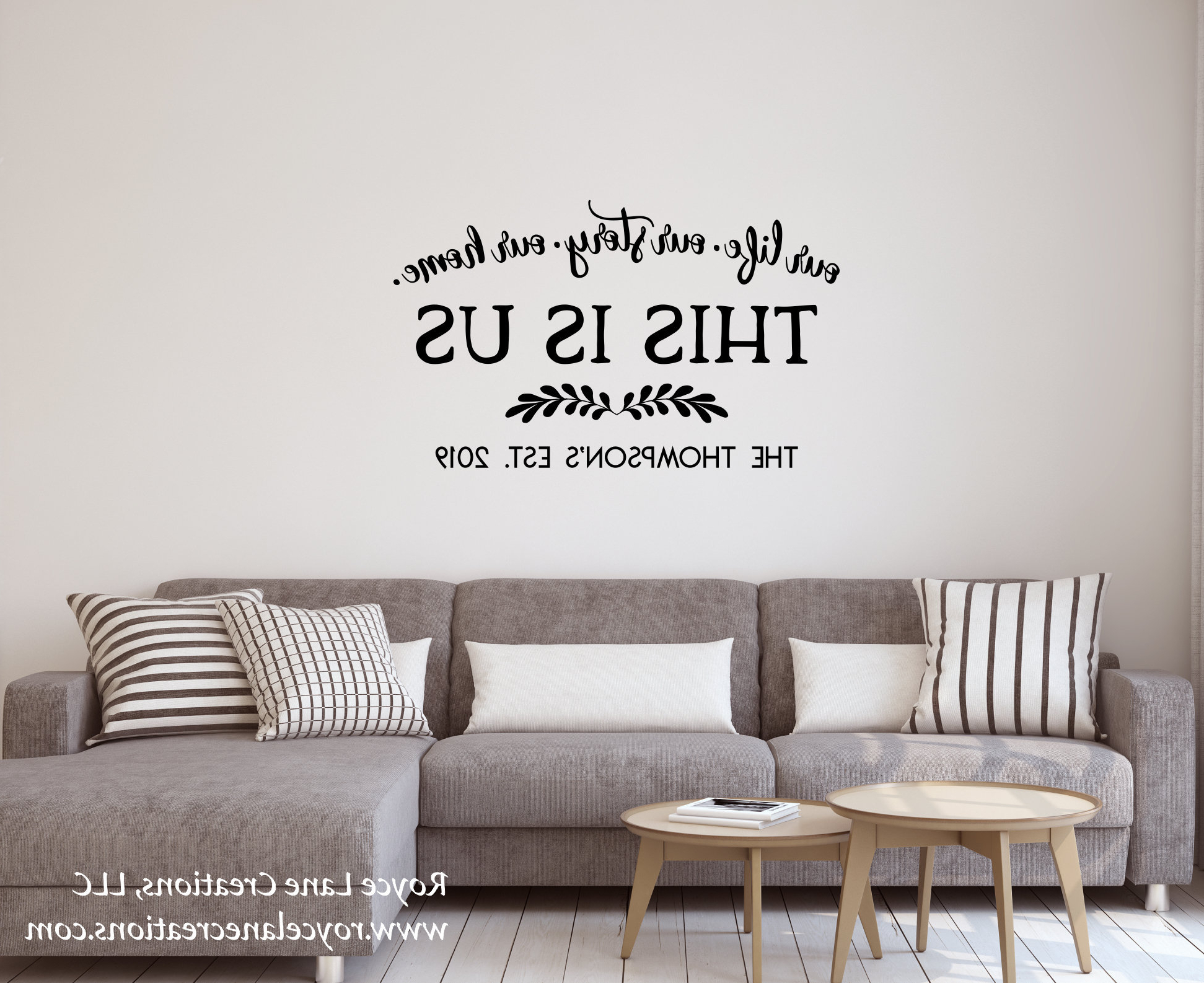Well Liked This Is Us Wall Decor Within Last Name Wall Decal This Is Us Family Established Decal (View 20 of 20)