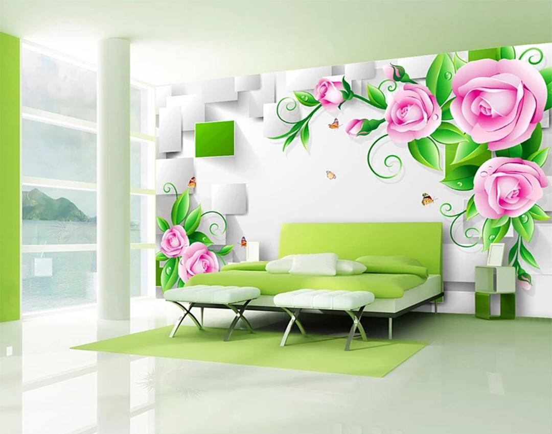 Well Liked Three Flowers On Vine Wall Decor Inside Custom Wallpaper 3D Three Dimensional Delicate Rose Vine Box Living (View 20 of 20)
