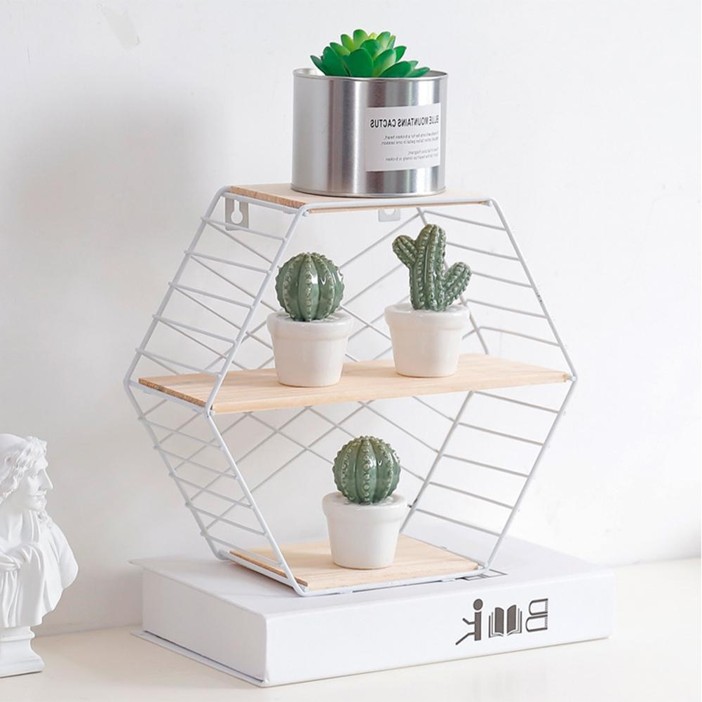 Well Liked Three Glass Holder Wall Decor For Innovative Wooden Home Bedroom Wall Storage Rack Simple Hexagon (View 20 of 20)