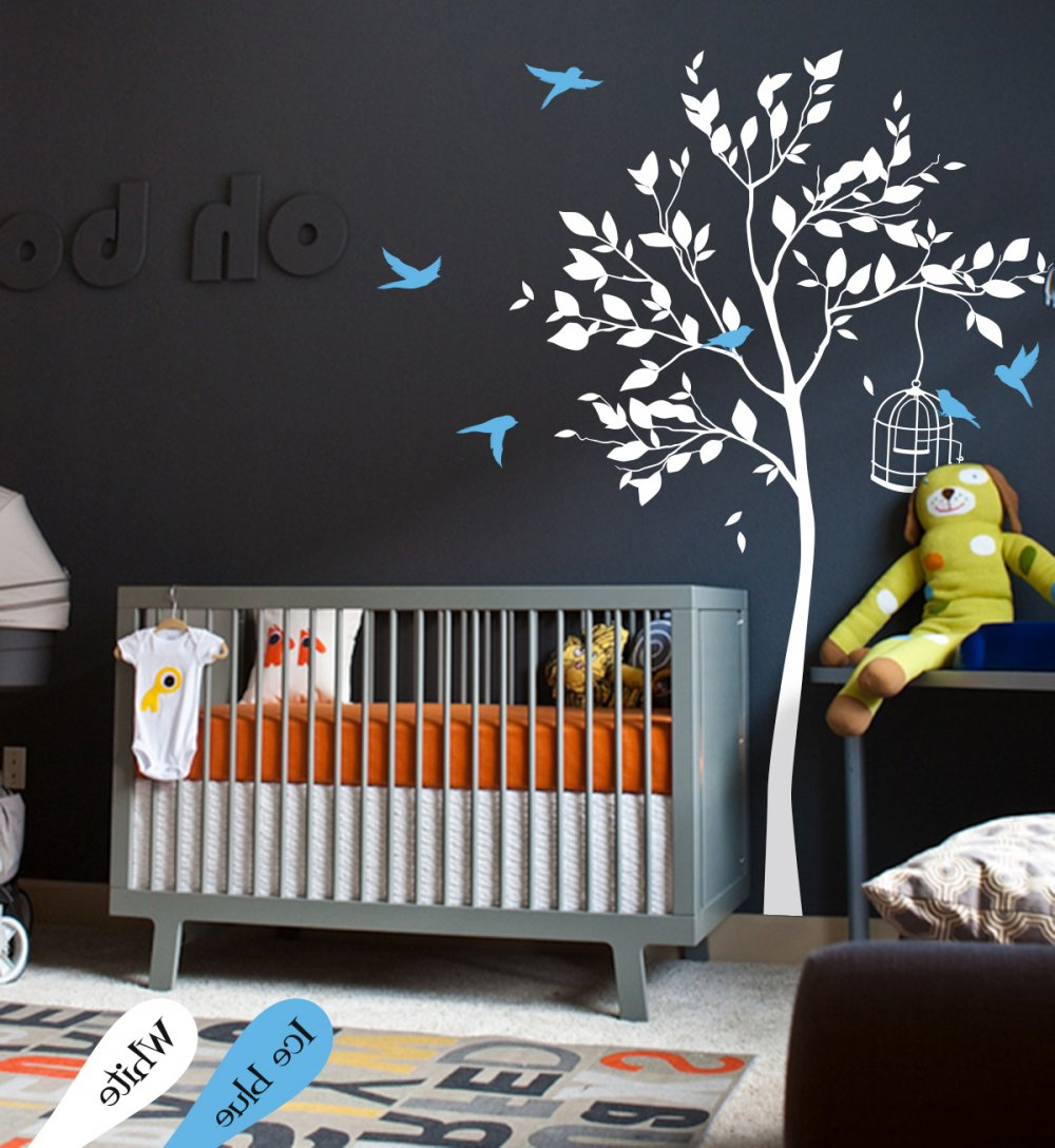 Well Liked White Tree Wall Decal With Leaves And Birdswallconsilia With Tree Wall Decor (View 20 of 20)