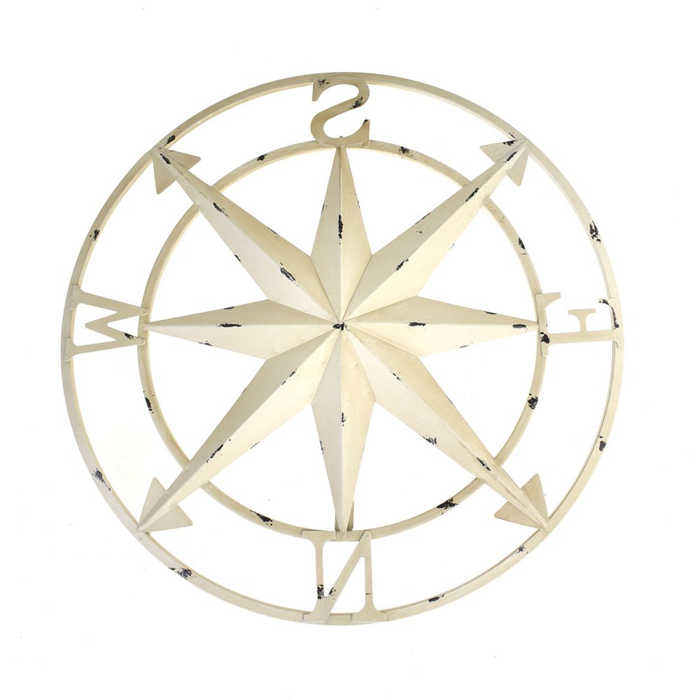 Widely Used Amazon: Homeford Large Rustic Compass Wall Decor, Ivory, 20 Inch Intended For Round Compass Wall Decor (View 20 of 20)
