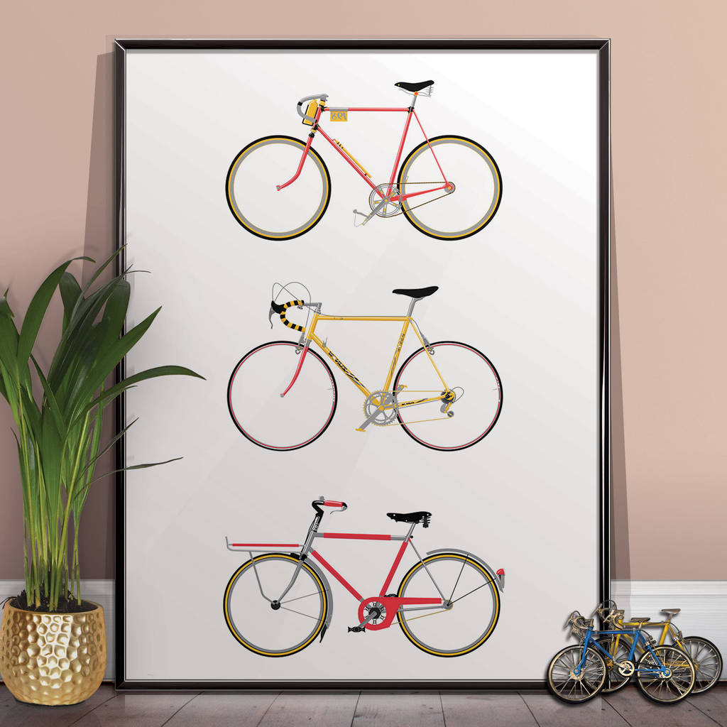 Widely Used Bike Wall Decor Pertaining To Bike Art Print, Bicycle Poster Wall Art Home Décorwyatt (View 6 of 20)