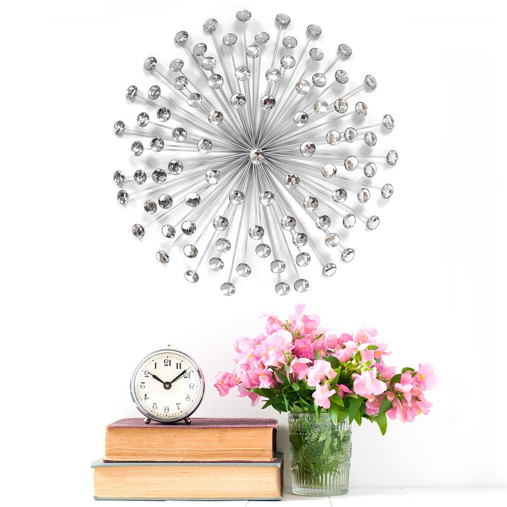 Widely Used Stratton Home Decor Stratton Home Decor 24 In. Silver Acrylic Burst Throughout 2 Piece Multiple Layer Metal Flower Wall Decor Sets (Gallery 19 of 20)