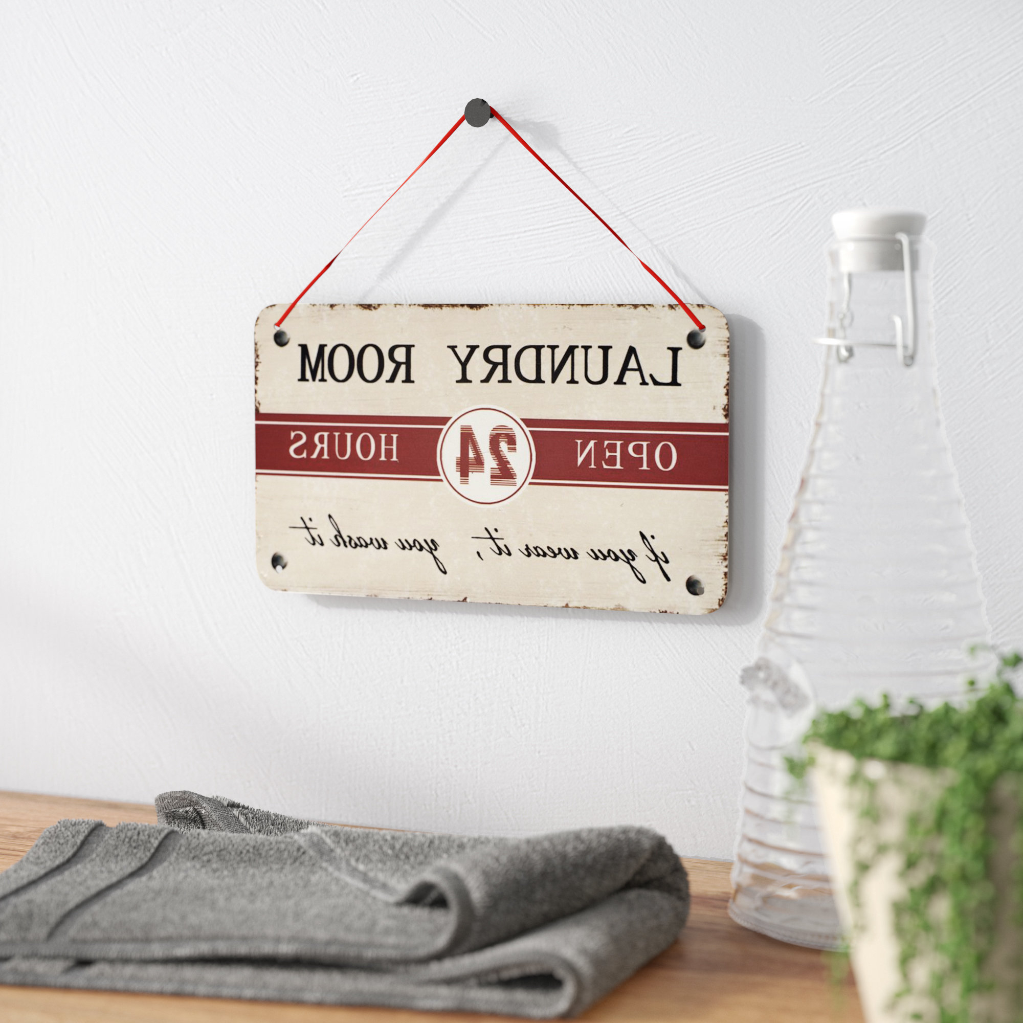 "Winston Porter ""laundry Room"" Antique Wisdom Sign Wall Décor With Well Known Metal Laundry Room Wall Decor (View 8 of 20)"