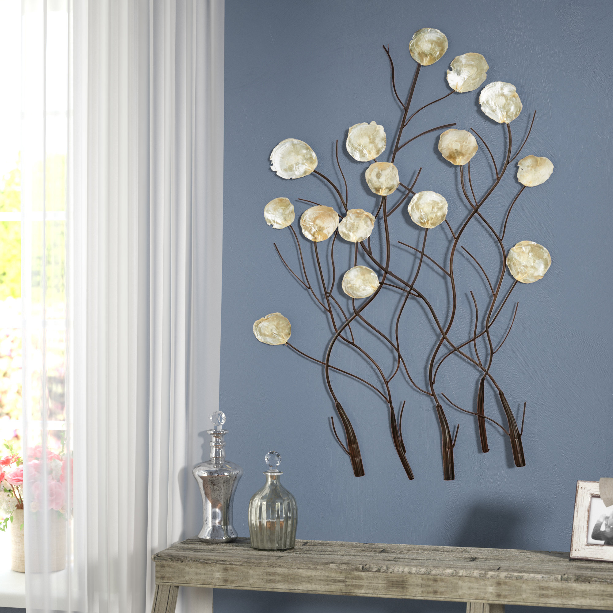 2019 One Allium Way Maria Metal Capiz Wall Décor & Reviews (View 1 of 20)