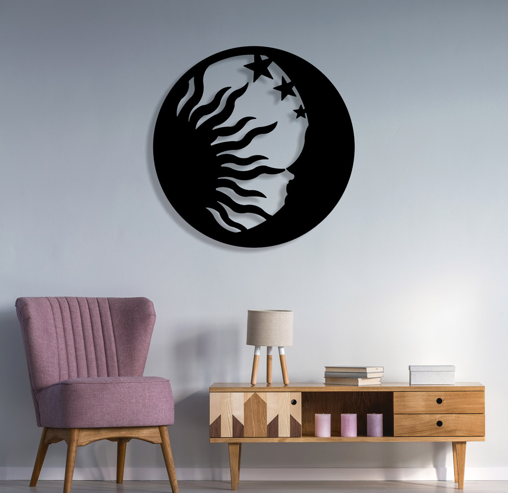 2019 Sun Moon And Star Theme Metal Wall Art Sculpture Is Give Feel Of With Nature Metal Sun Wall Decor (View 1 of 20)