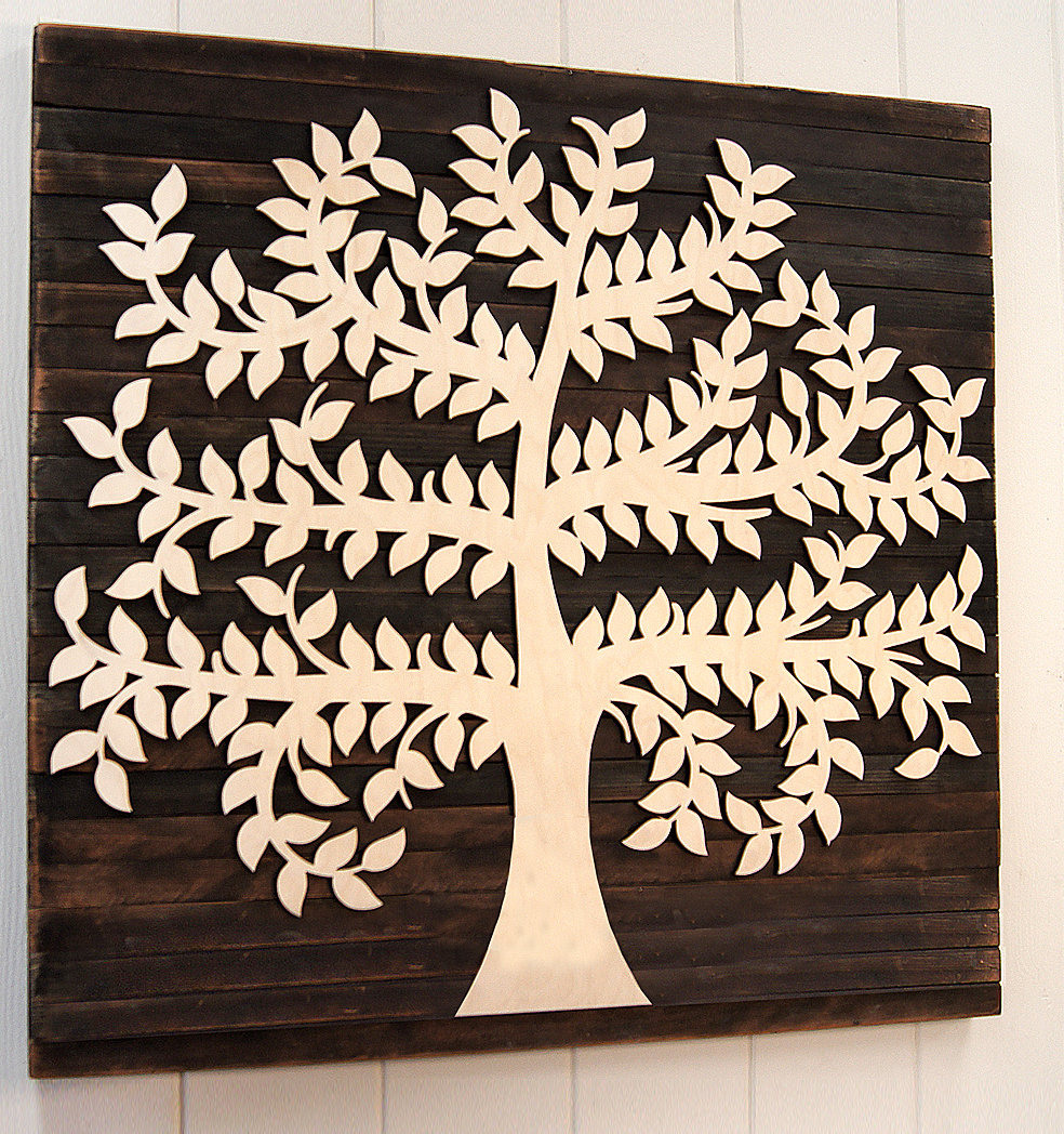 2019 Tree Of Life Wall Decor By Red Barrel Studio Throughout Amonogramartunlimited Family Tree Mounted On Wooden Rustic Board (View 1 of 20)