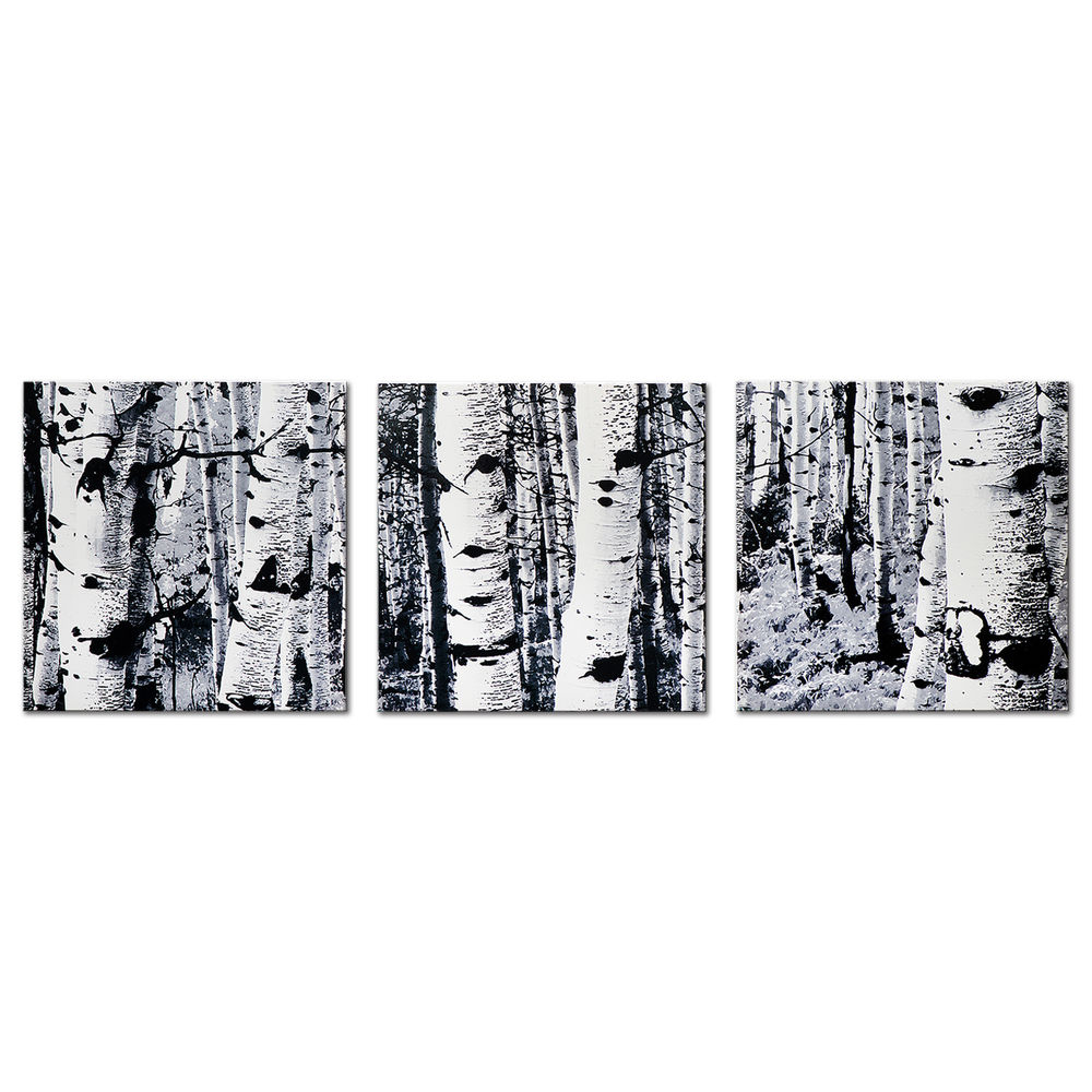 2020 Black & White Tree Art Aspen Trees Artwork Modern Minimalist Winter Inside Contemporary Forest Metal Wall Decor (Gallery 12 of 20)