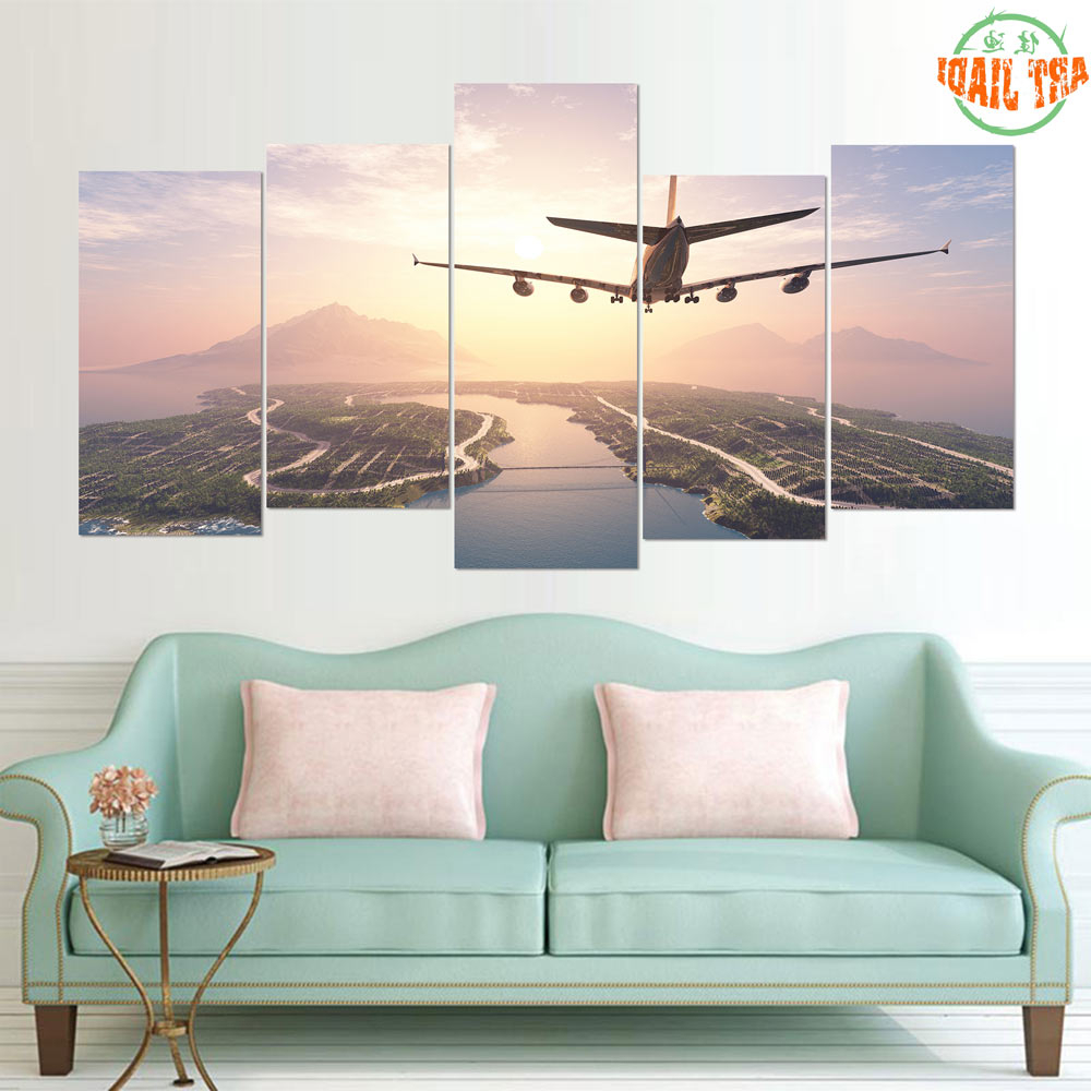 2020 New 5 Pieces/sets Canvas Art Hd Airplane Landing On Island Canvas In Landing Art Wall Decor (View 3 of 20)