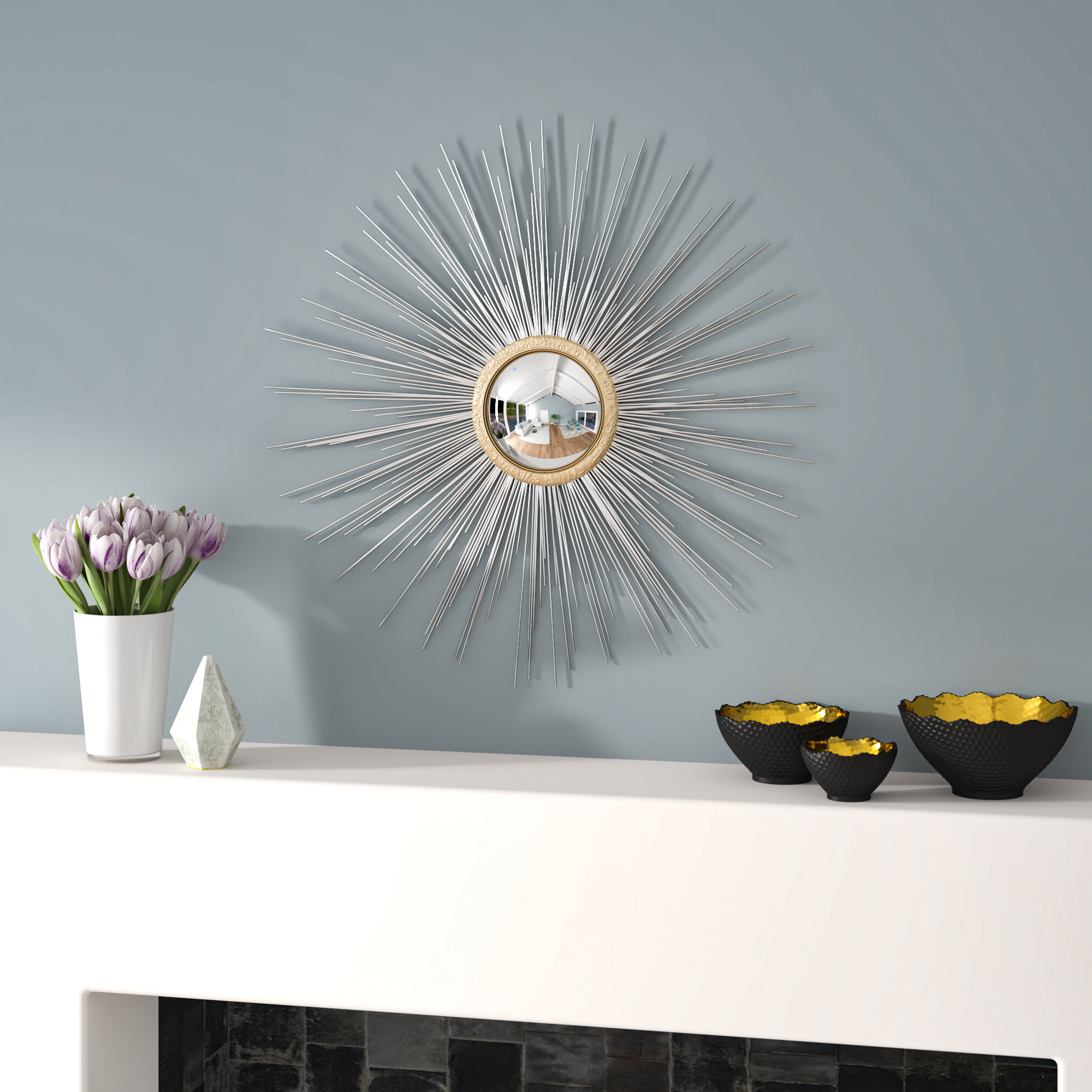 2020 Starburst Wall Decor By Willa Arlo Interiors With Latitude Run Starburst Silhouette Metal Fisheye Wall Mirror (View 1 of 20)