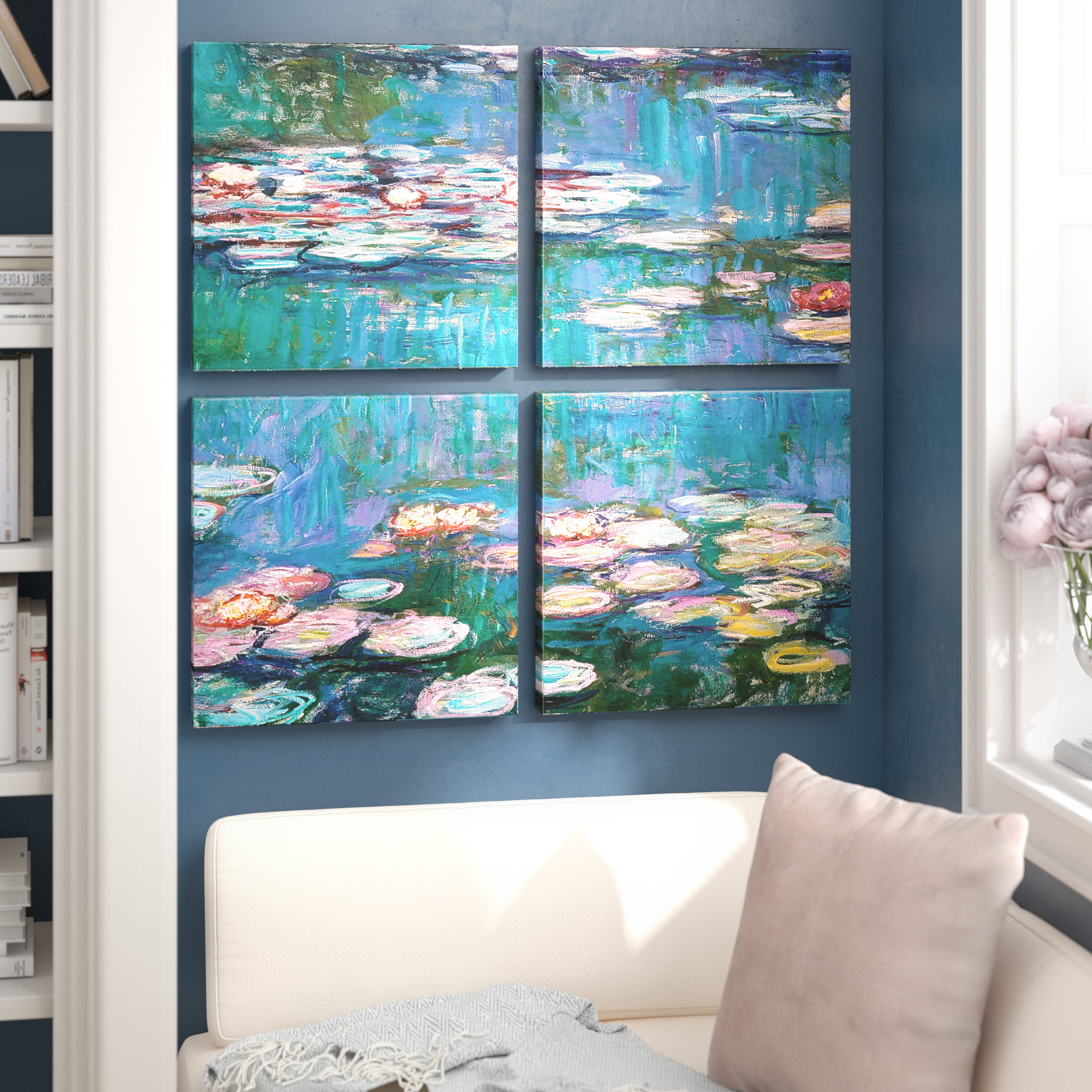 4 Piece Wall Decor Sets By Charlton Home Regarding Popular Charlton Home 'water Lilies'claude Monet 4 Piece Painting Print (View 7 of 20)