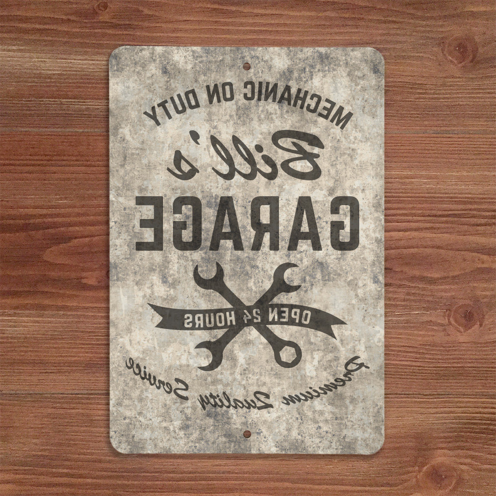 4 Wooden Shoes Personalized Sandstone Look Mechanic On Duty Garage In Best And Newest Personalized Mint Distressed Vintage Look Laundry Metal Sign Wall Decor (View 19 of 20)