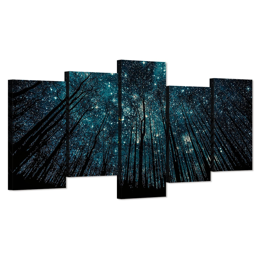 5 Piece Canvas Wall Art Black Forest Pictures Starry Night Poster Inside 2019 Contemporary Forest Metal Wall Decor (Gallery 15 of 20)