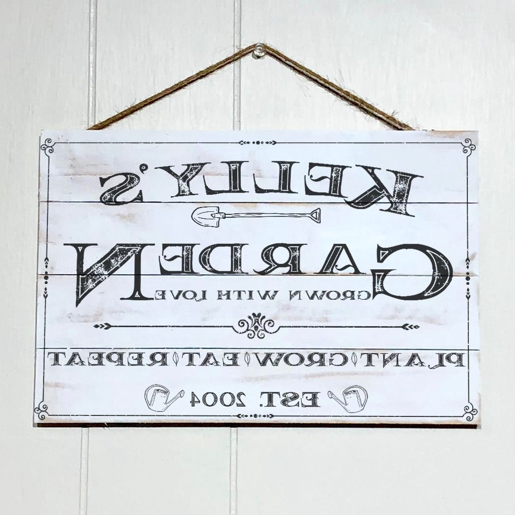 Amazon: Artblox Personalized Rustic Garden Wood Sign Garden Regarding Preferred Personalized Mint Distressed Vintage Look Laundry Metal Sign Wall Decor (View 9 of 20)