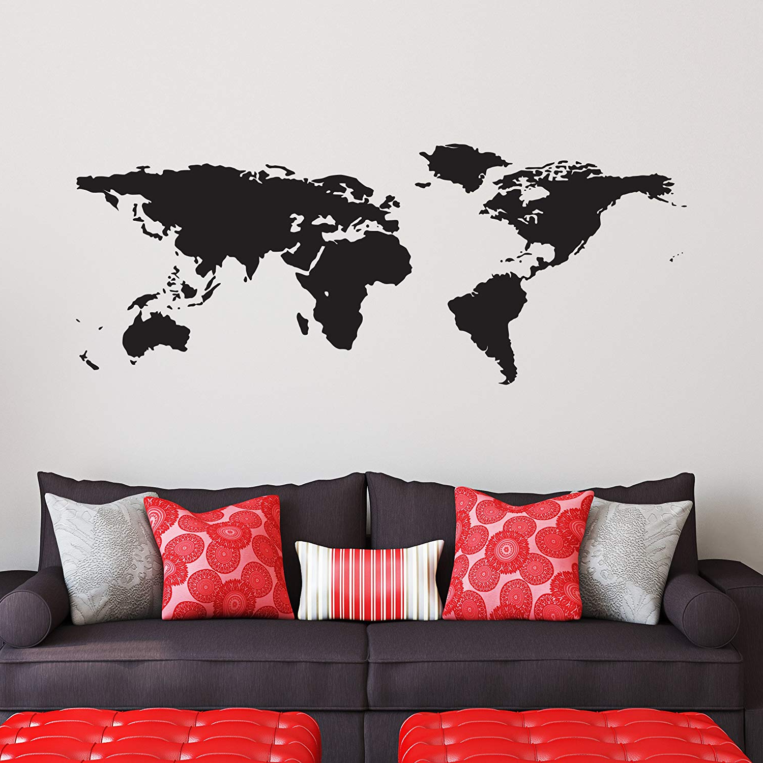 Amazon: Black World Map Wall Decal – Easy To Apply Modern Large Throughout Widely Used Wonderful World Wall Decor By Latitude Run (View 15 of 20)