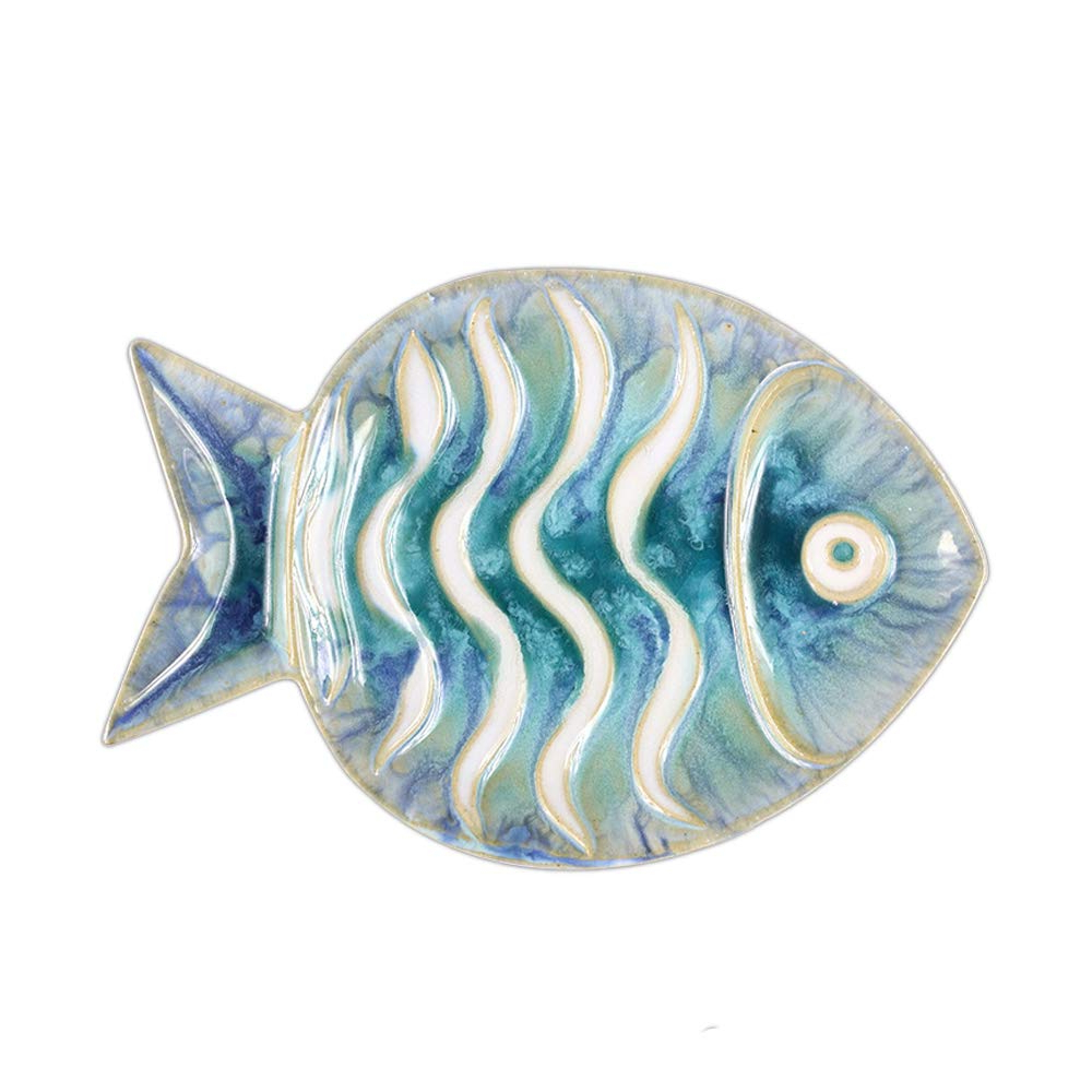 Amazon: Chinoiseriehouse Sea World Ceramic Wall Decor Fish Intended For Newest Ceramic Blue Fish Plate Wall Decor (View 6 of 20)